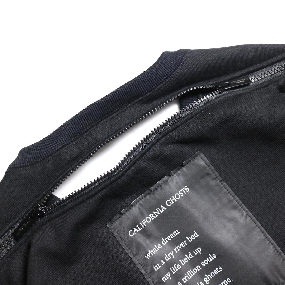 The Soloist / sc.0002aAW19 back zip crew neck l/s sweatshirt.  -Black 背面ジップ