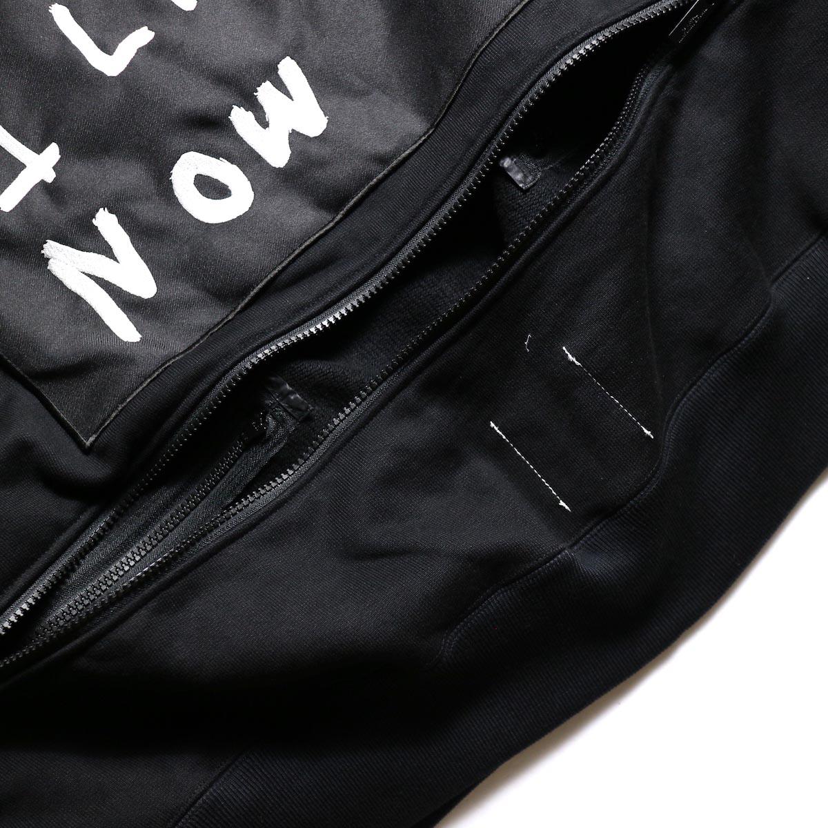The Soloist / sc.0002aAW19 back zip crew neck l/s sweatshirt.  -Black 背面裾ジップ