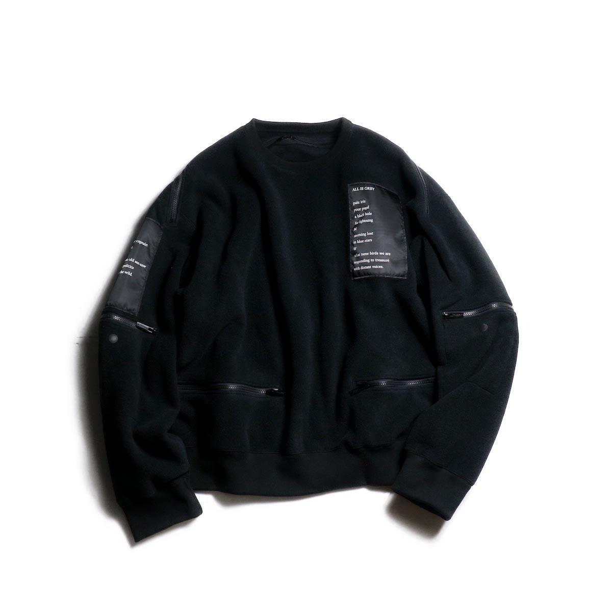 The Soloist / sc.0002c back zip crew neck l/s sweatshirt. (black)