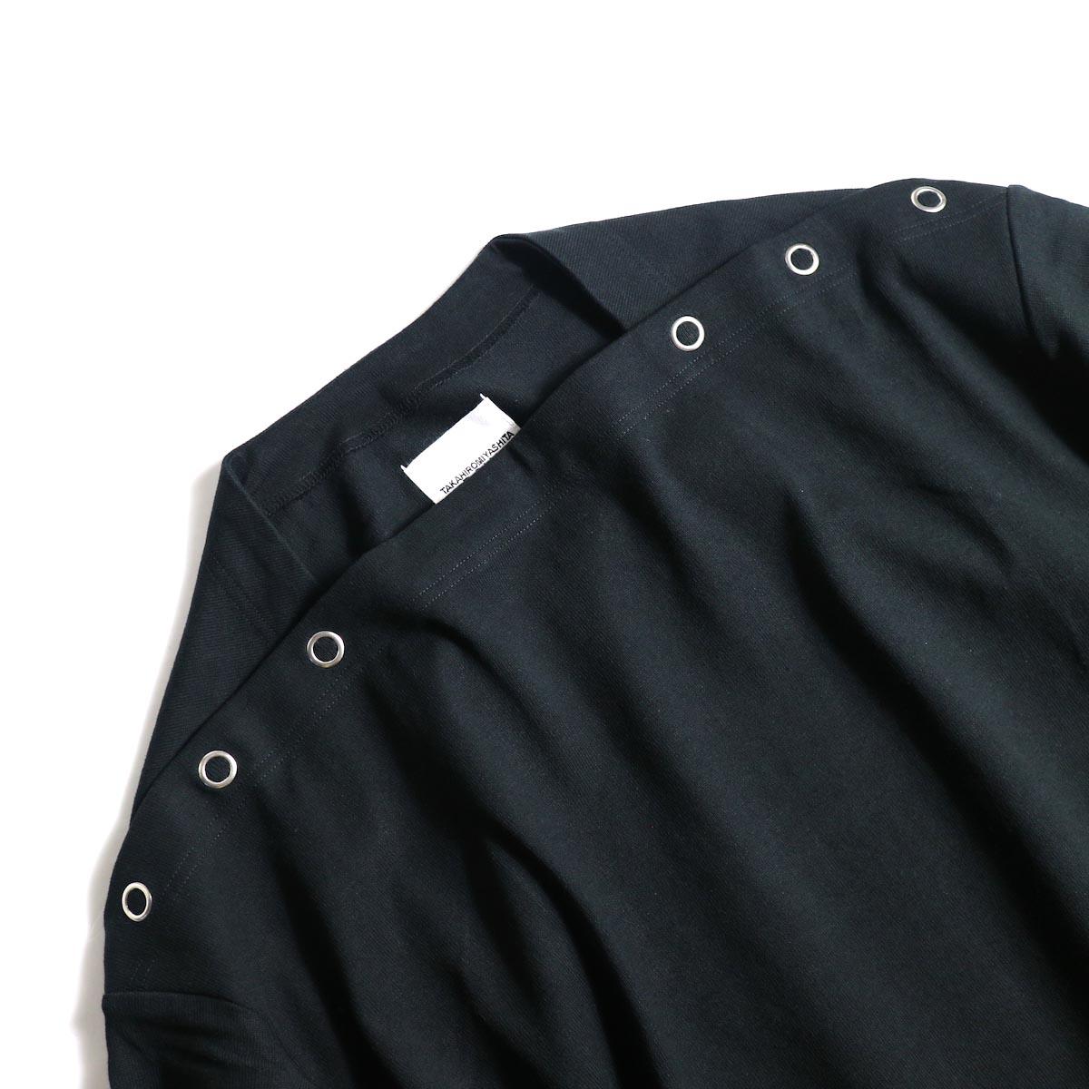The Soloist / sc.0005bAW20 shoulder buttoned boat neck shirt. (Black)ボートネック
