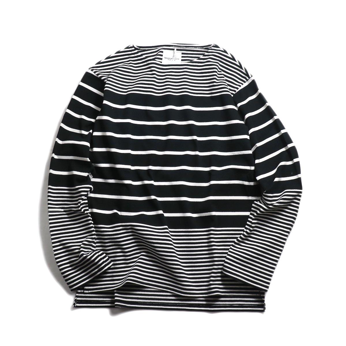 The Soloist / sc.0009bSS19 jimmy stripe boat neck shirt. -Black×White