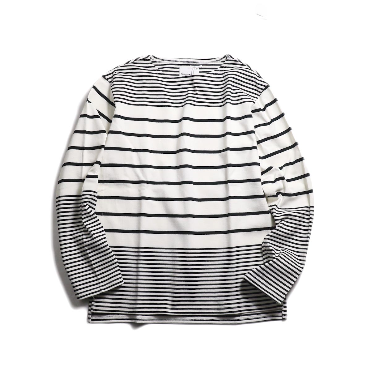 The Soloist / sc.0009bSS19 jimmy stripe boat neck shirt. -White×Black