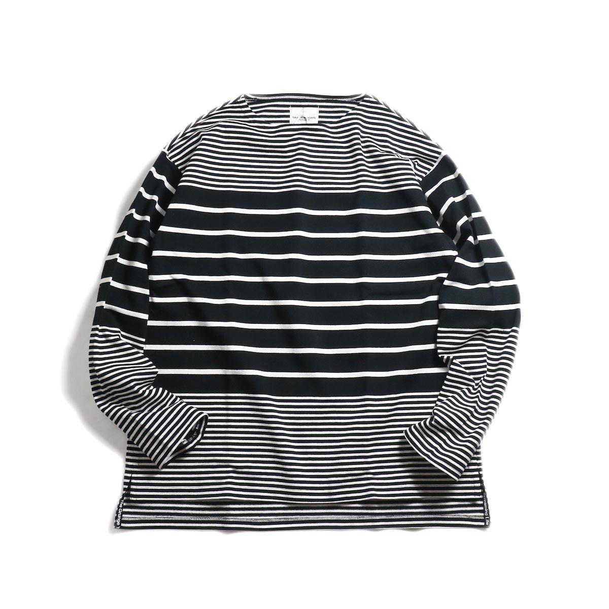 The Soloist / sc.0010bSS19 jimmy stripe oversized boat neck shirt. -Black×White