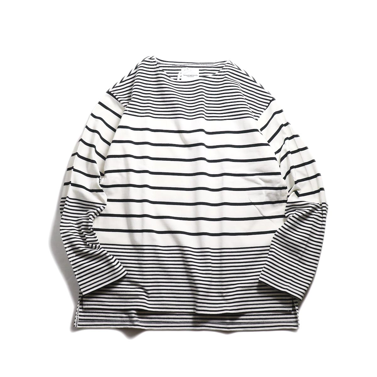 The Soloist / sc.0010bSS19 jimmy stripe oversized boat neck shirt. -White×Black 正面