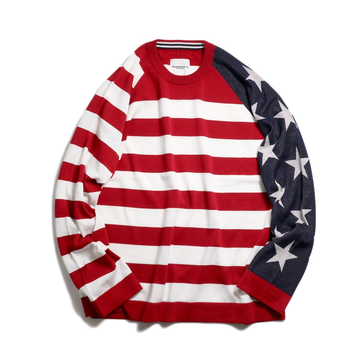 The Soloist / sk.0001SS19 Star&Stripes Sweater. -Navy×Red×White