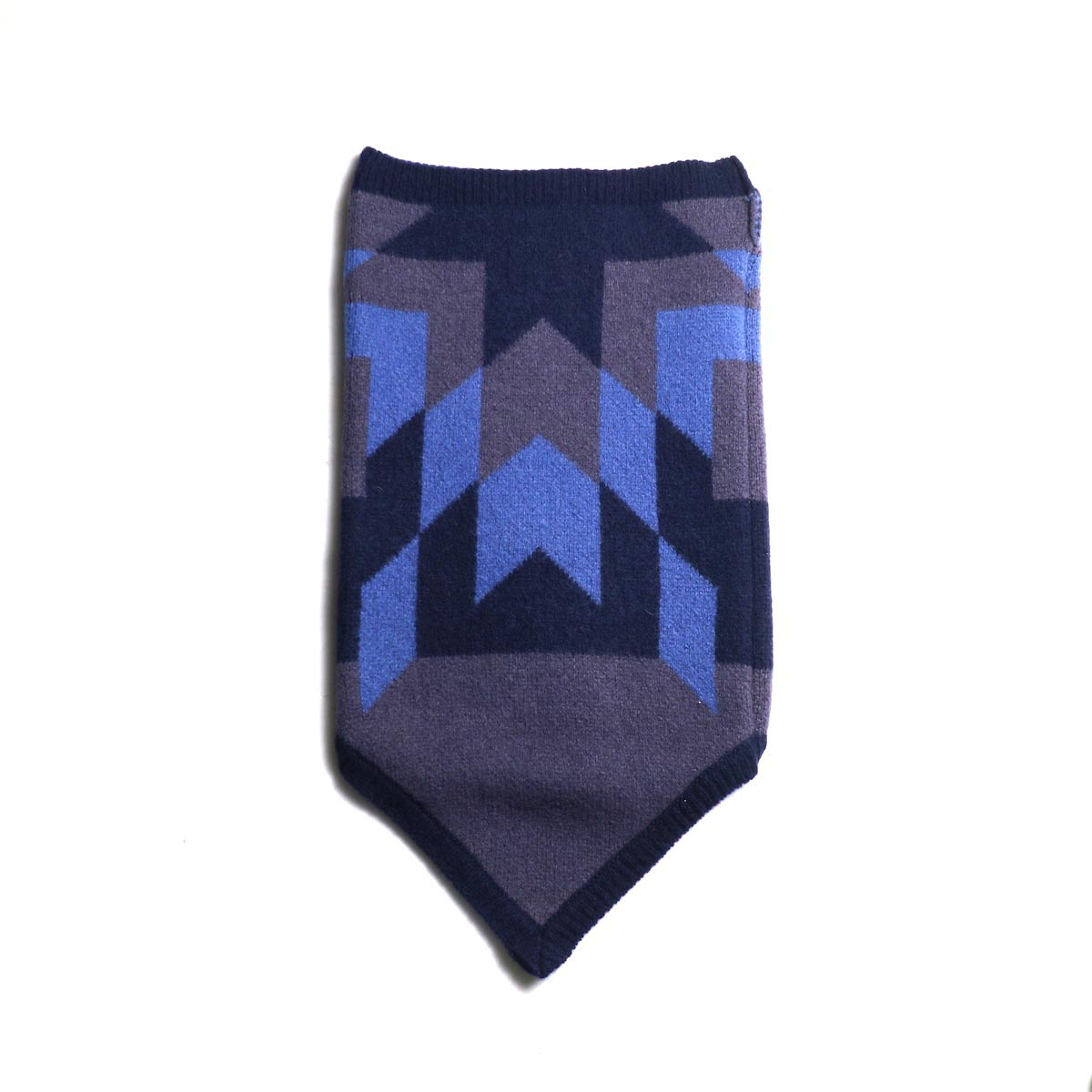 The Soloist / sk.0005AW19 neck warmer. -Mid Night × Eggplant × Saxe Blue 正面