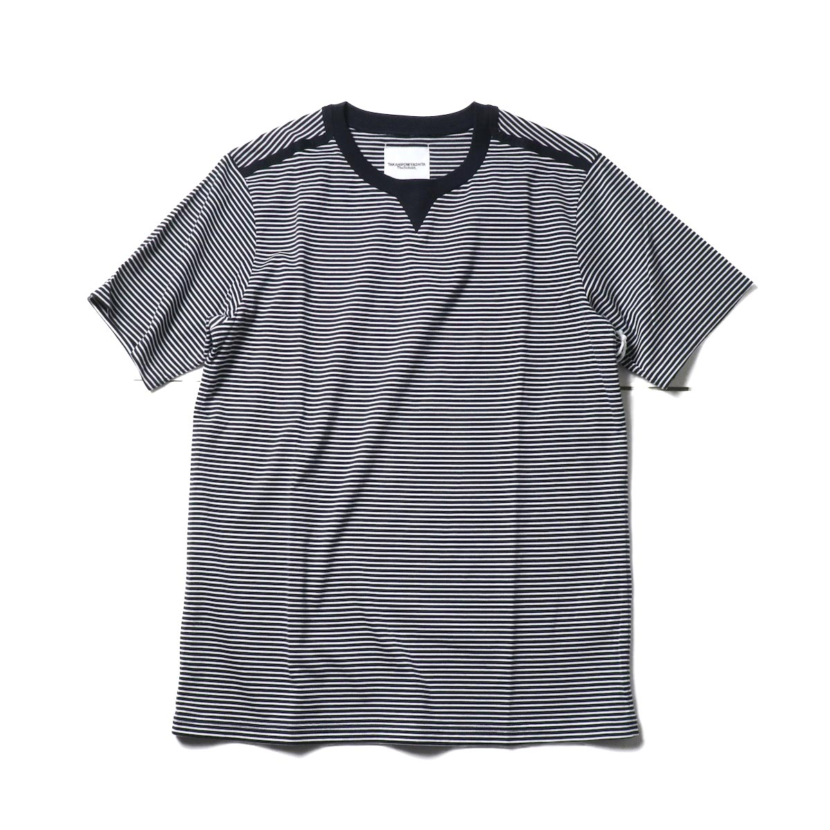 The Soloist / swc.0009a crew neck s/s striped tee. (Midnight × White)