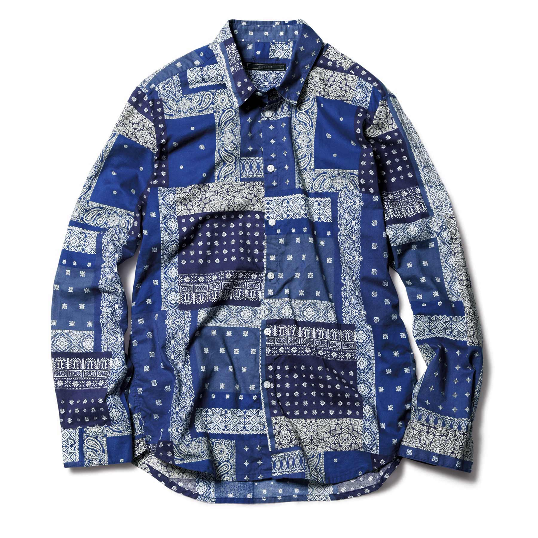 SOPHNET. / BANDANA REGULAR COLLAR SHIRT -NAVY