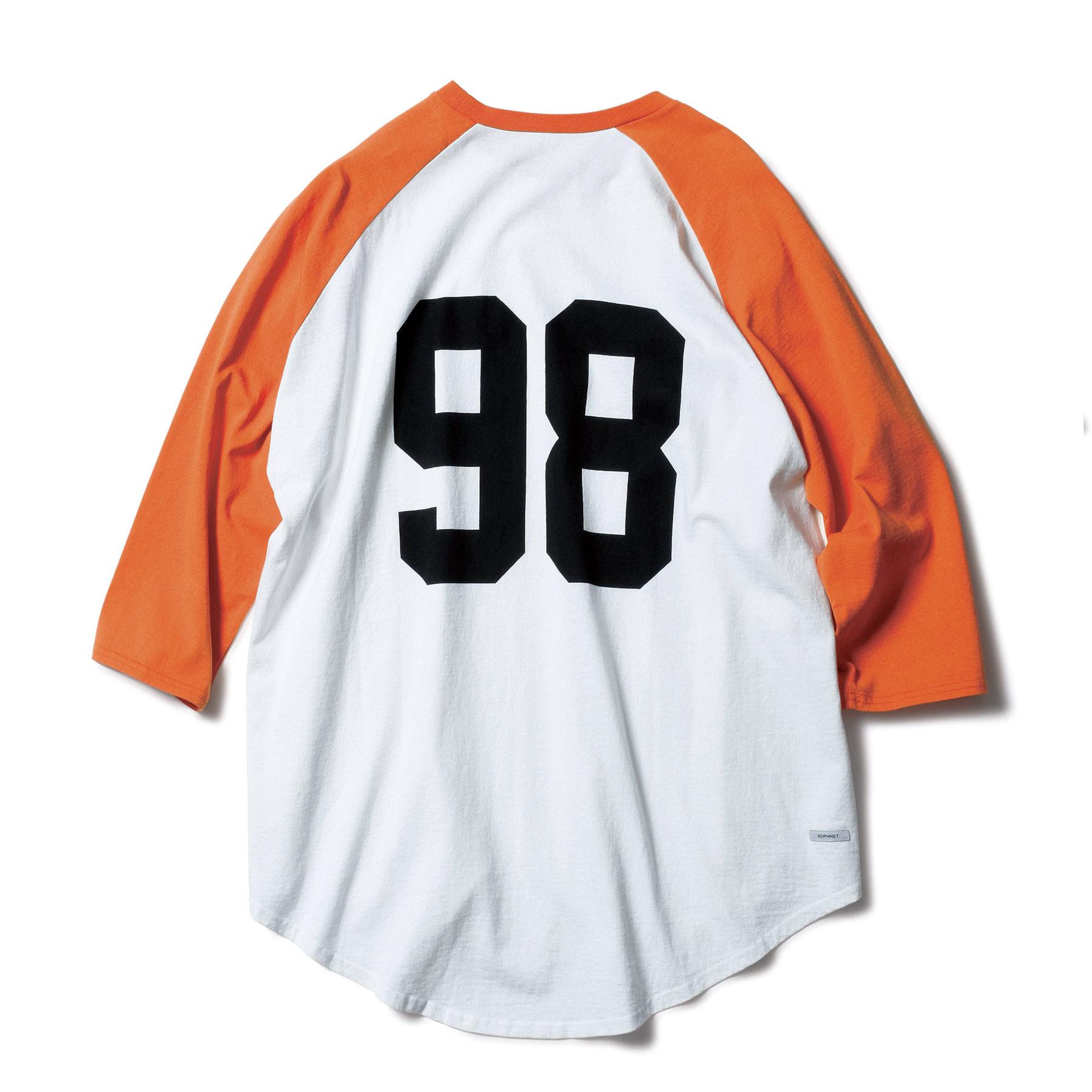 SOPHNET. / 3/4 SLEEVE BIG BASEBALL TEE -orange