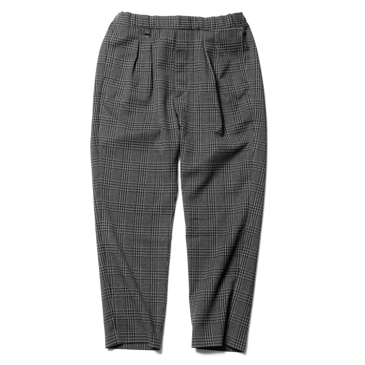 SOPHNET. / 2 TUCK CHECK EASY CROPPED PANT FABRIC BY SOLOTEX -BLACK