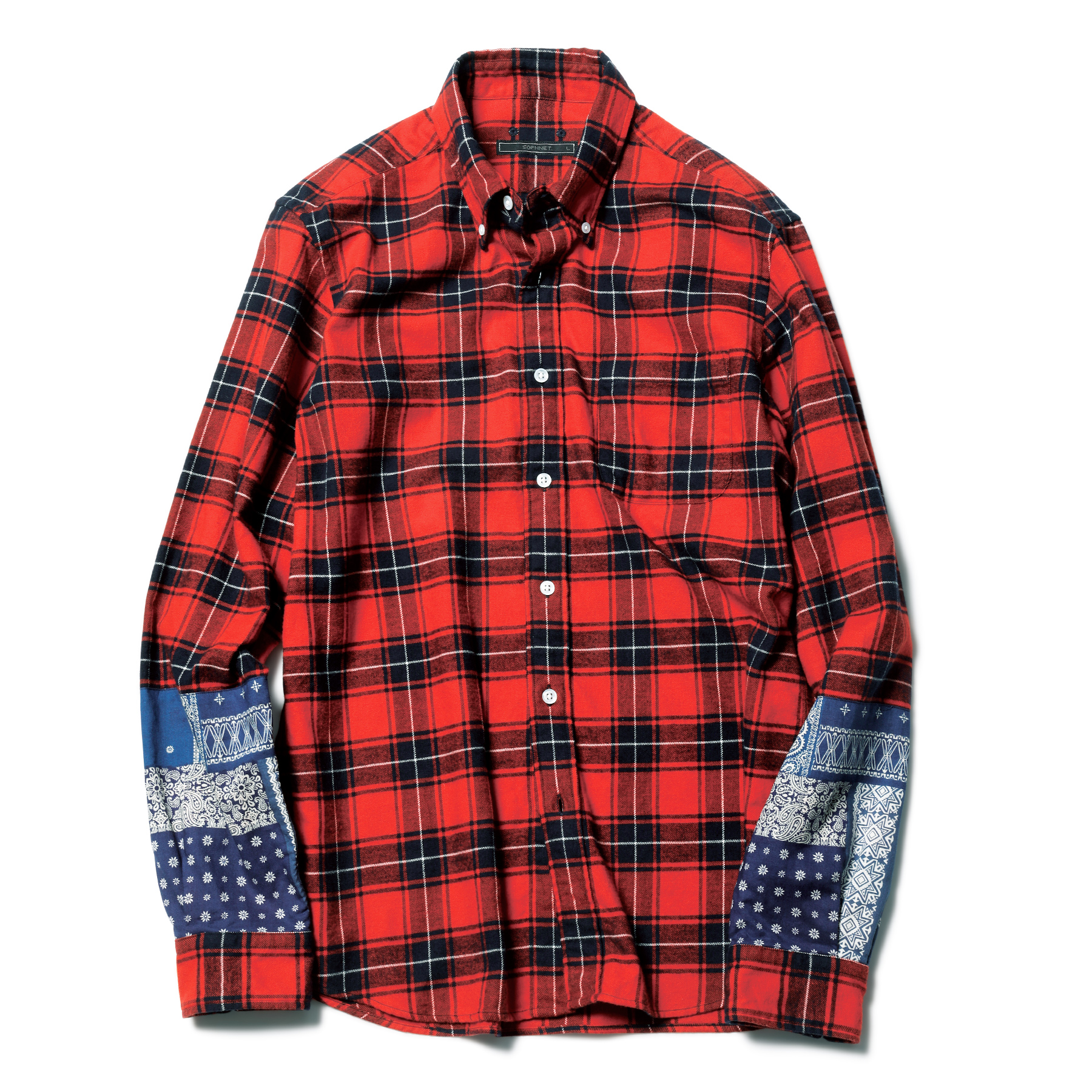 SOPHNET. / PANEL SLEEVE FLANNEL CHECK B.D SHIRT -RED