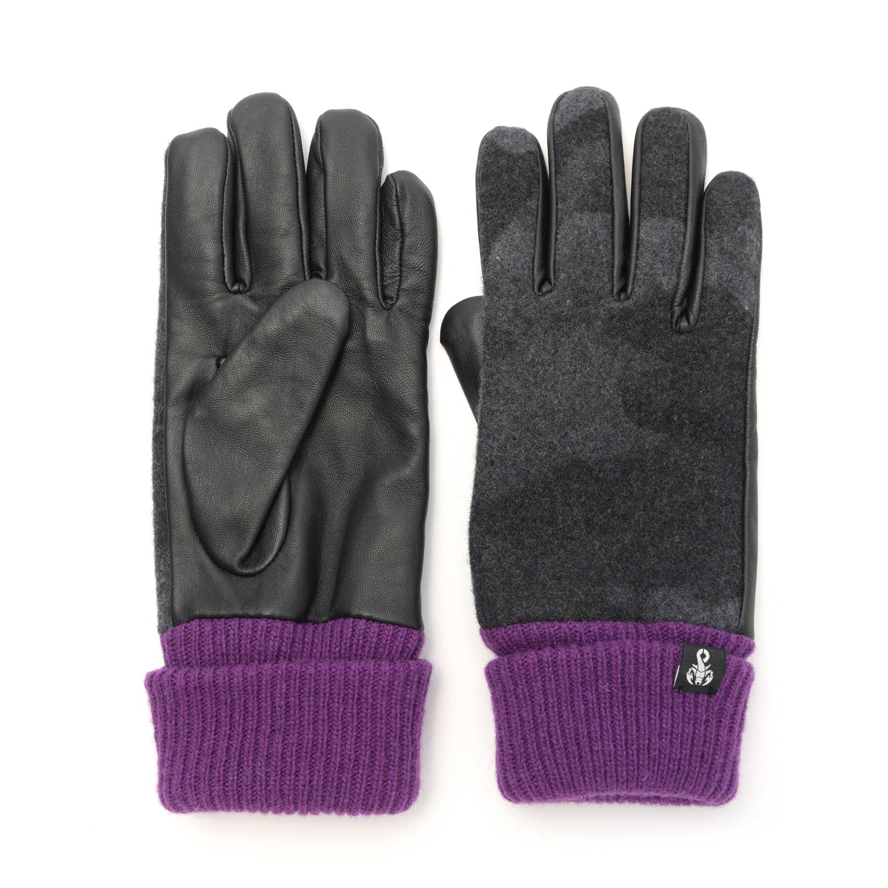 SOPHNET. / CAMOUFLAGE MELTON LETAHER TOUCH GLOVE -BLACK