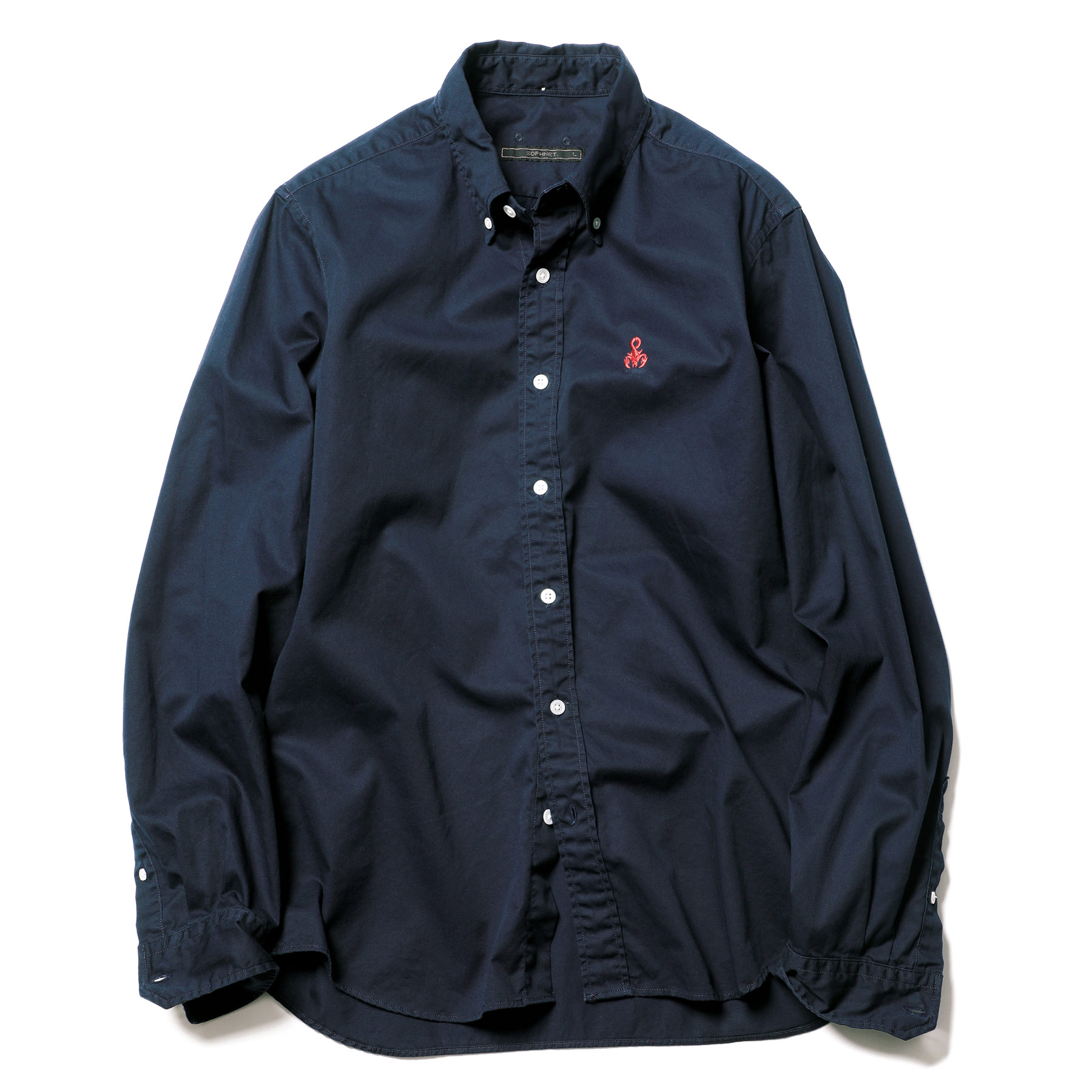 SOPHNET. / STANDARD COTTON TWILL B.D SHIRT -Navy