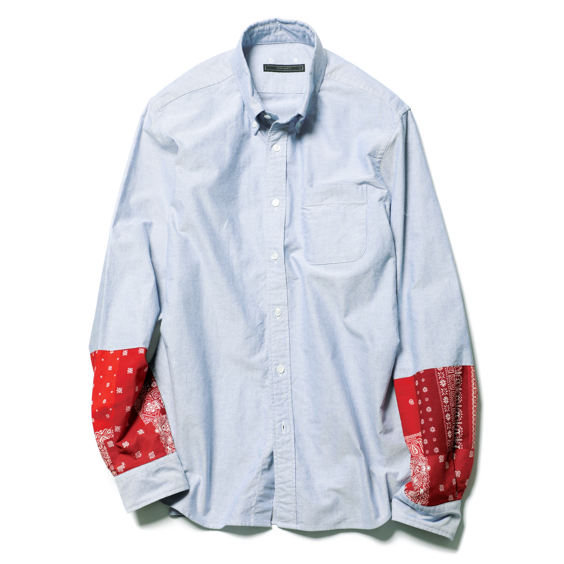 SOPHNET. / BANDANA PANEL SLEEVE B.D SHIRT -Navy