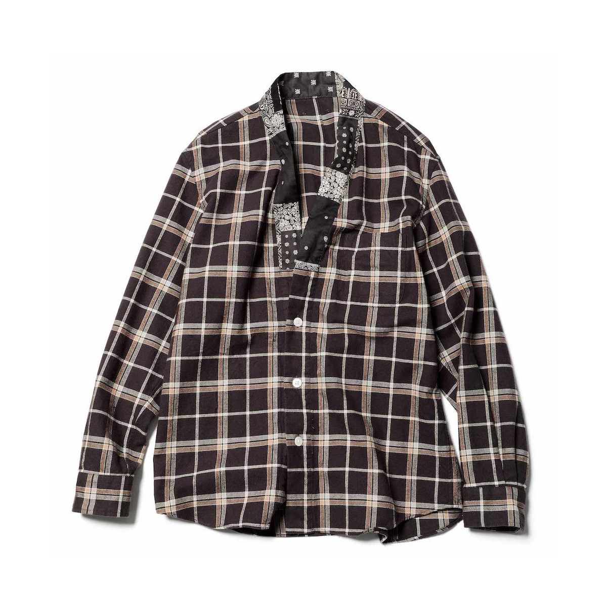 SOPHNET. / FLANNEL CHECK GOWN SHIRT (Brown)正面