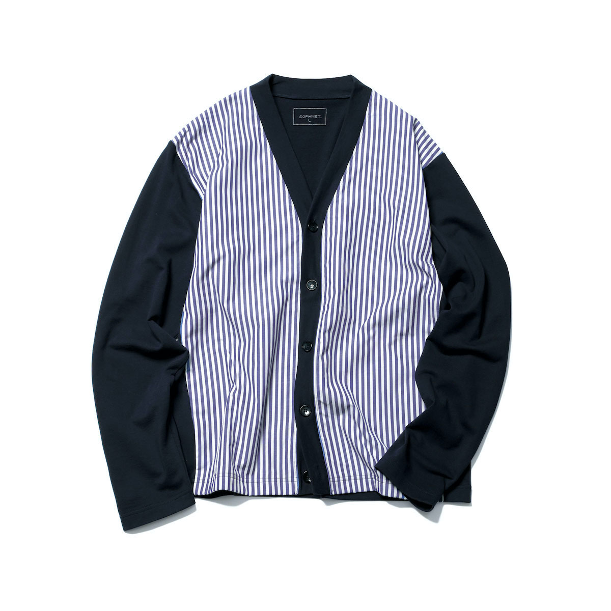SOPHNET. / FRONT PANELED CARDIGAN (Navy)正面