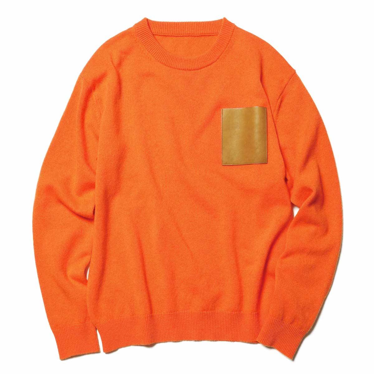 SOPHNET. / LEATHER POCKET CREW NECK KNIT (Orange)