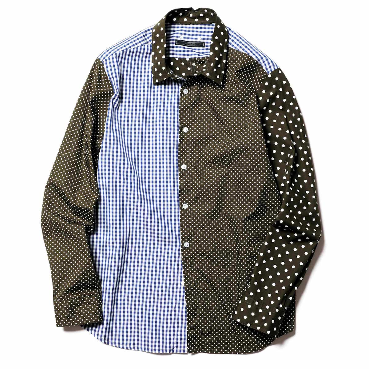 SOPHNET. / PANELED REGULAR COLLAR SHIRT (Khaki)