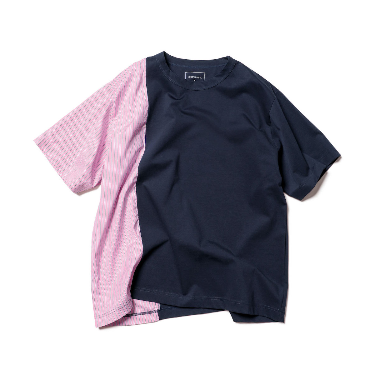 SOPHNET. / STRIPE SPLIT WIDE TEE (Navy)