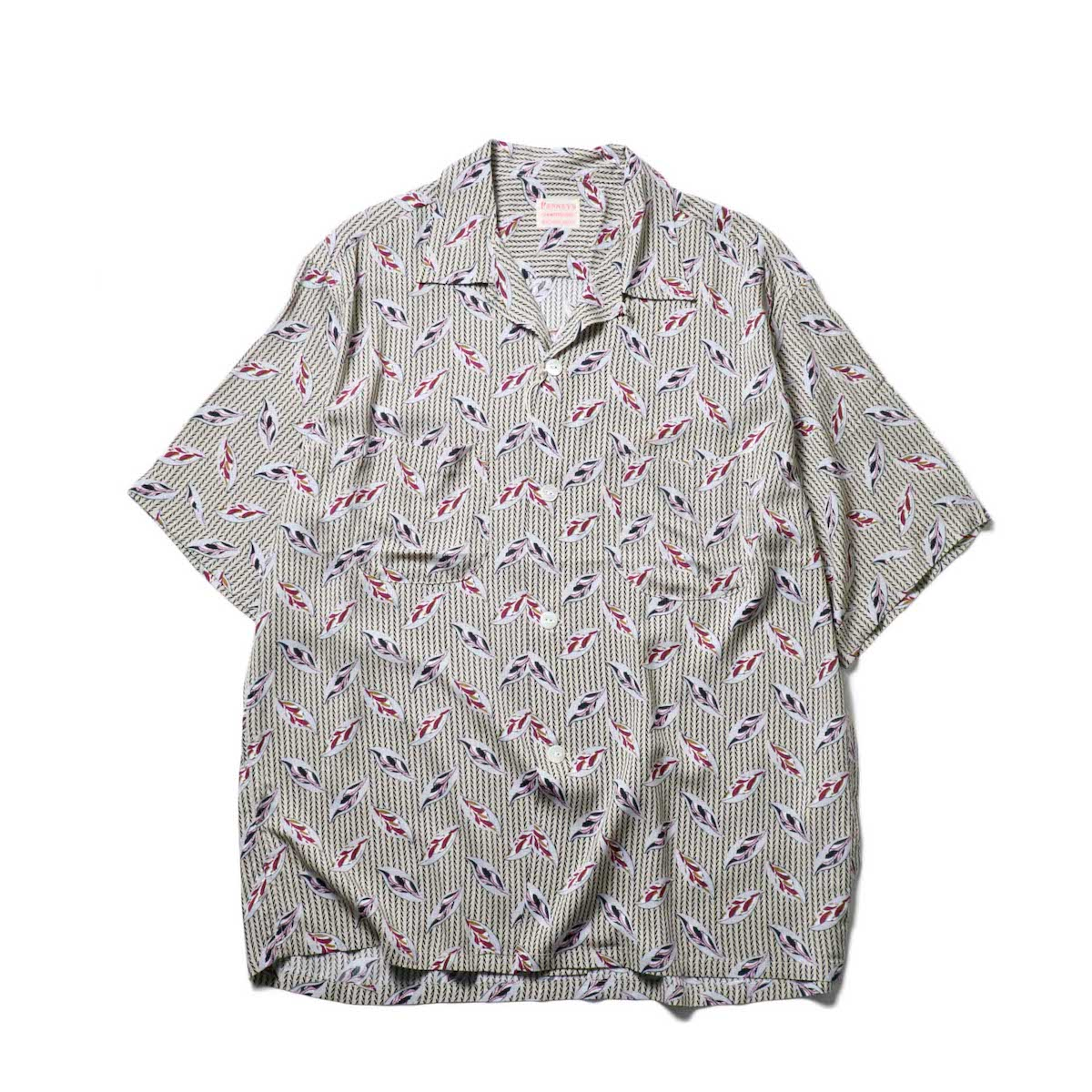 PENNEY'S / LEAF PRINTED W-P SS SHIRTS / (Beige)