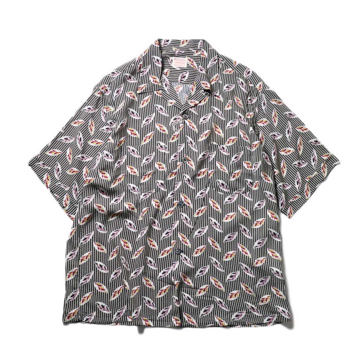 PENNEY'S / LEAF PRINTED W-P SS SHIRTS / (Black)