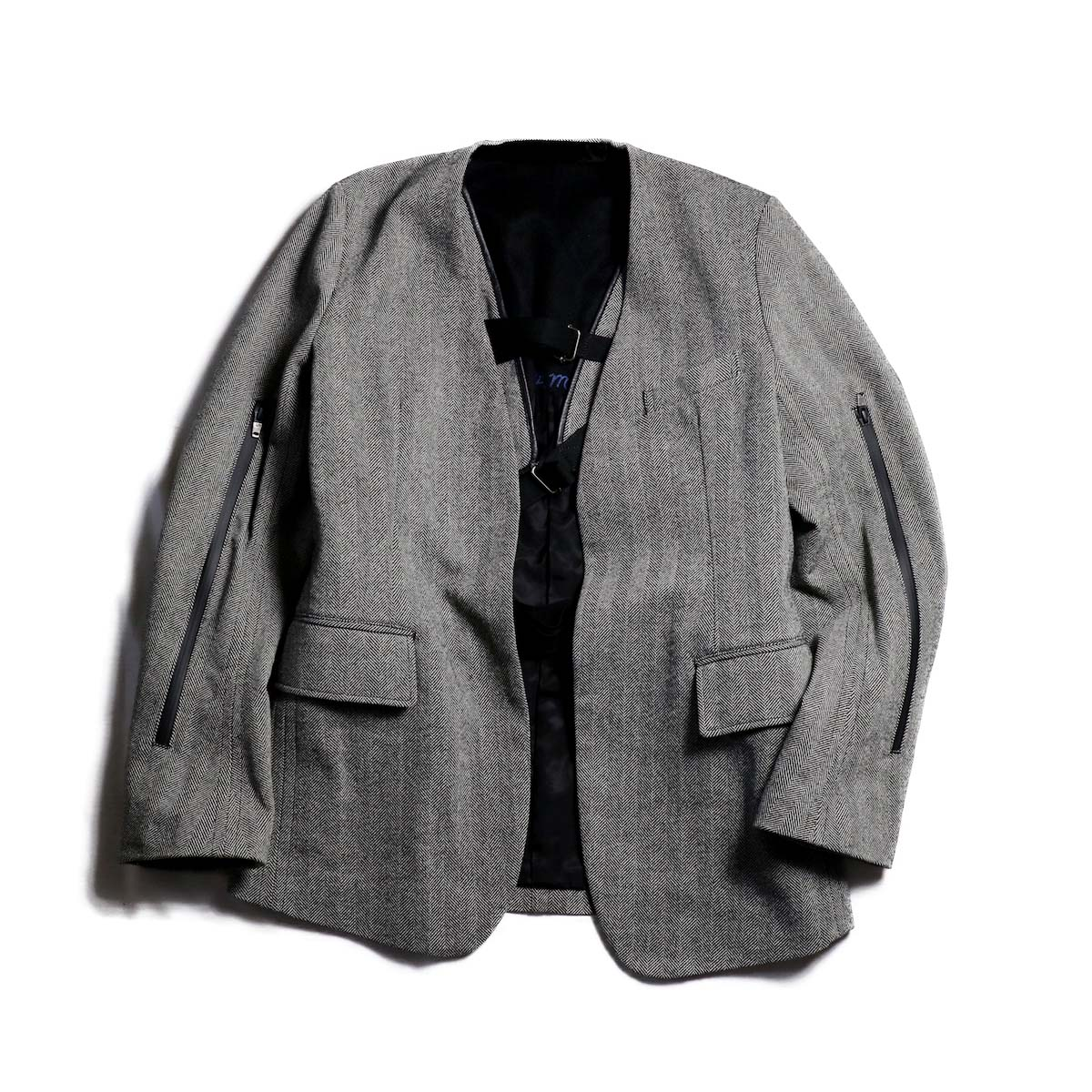 TheSoloist / sj.0003dAW18 collarless jacket. (herringbone)