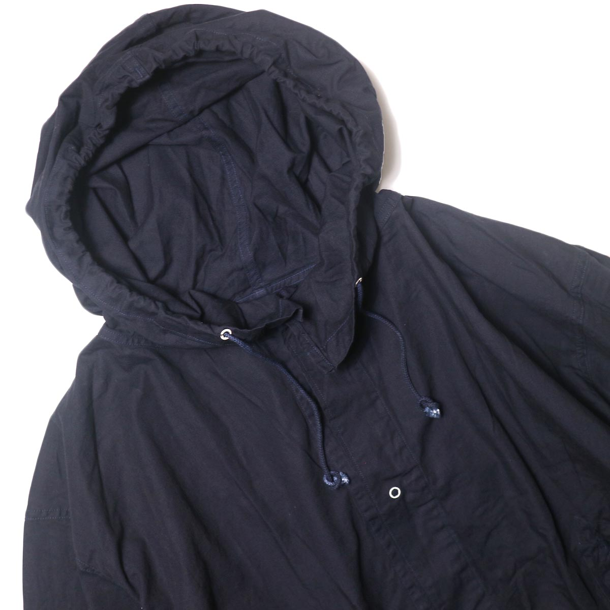 THRIFTY LOOK / UPCYCLE COTTON SNOW PARK (navy) フード