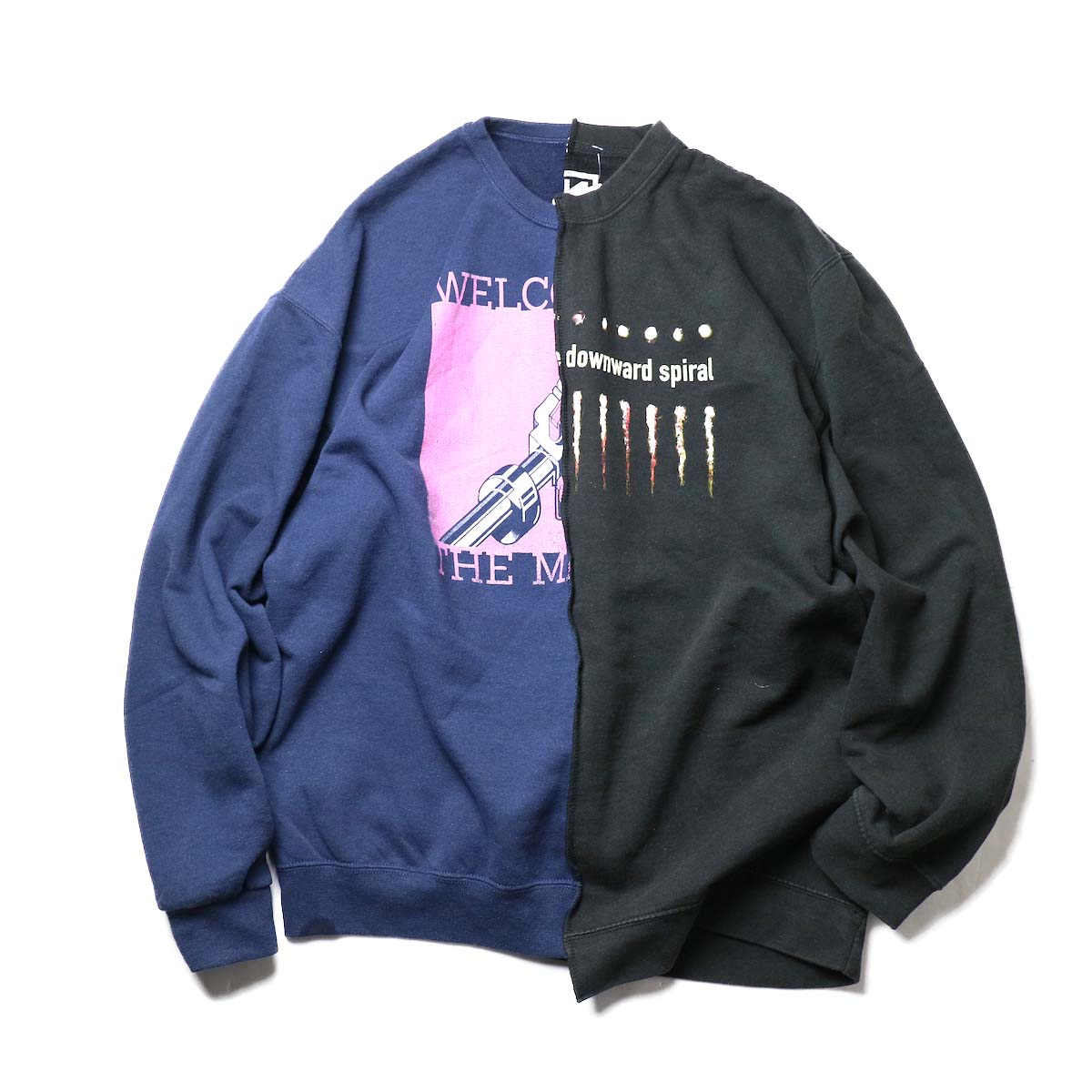 THRIFTY LOOK / Twins Crew Sweat (Black-H)正面