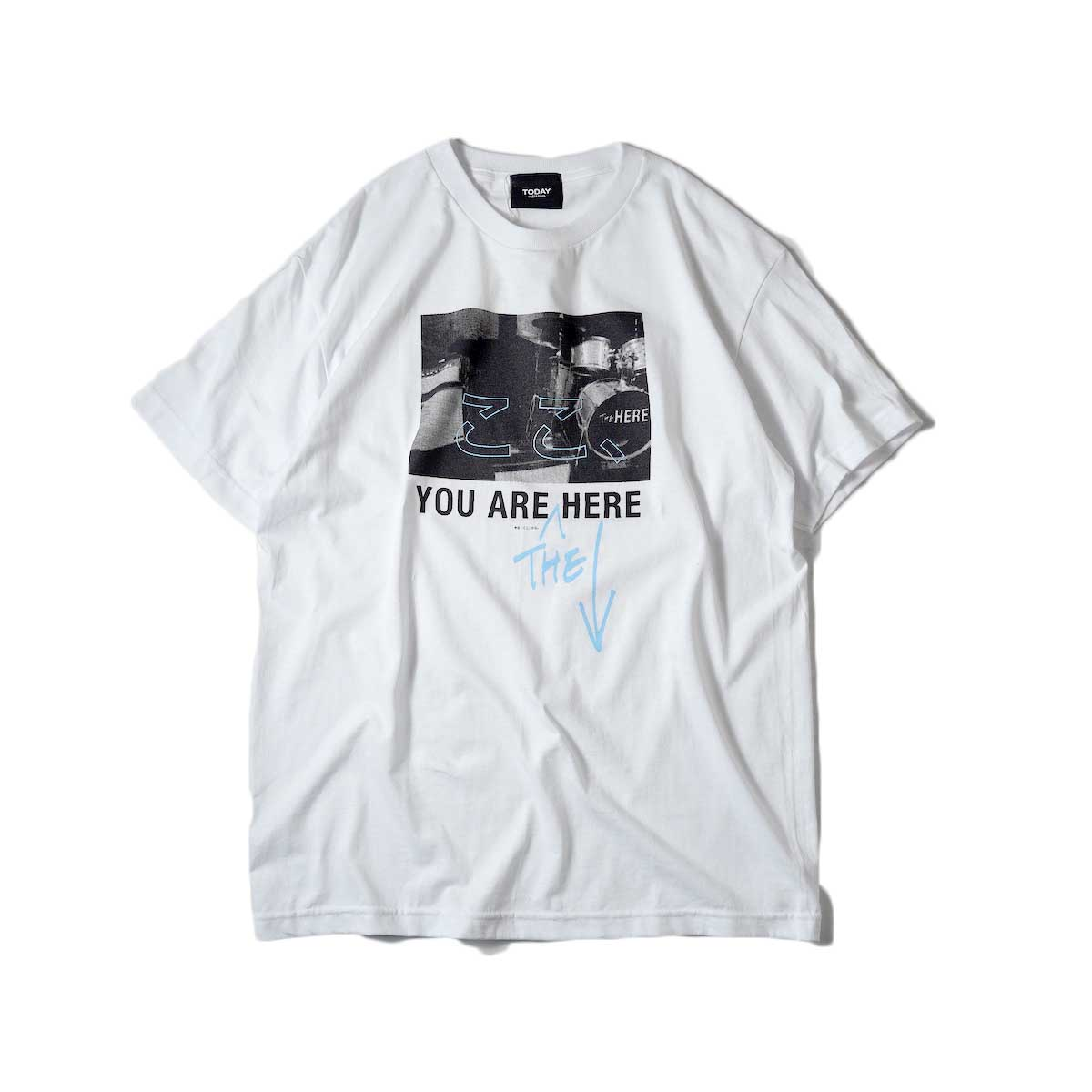 TODAY edition / ここ、Drums SS Tee (White)