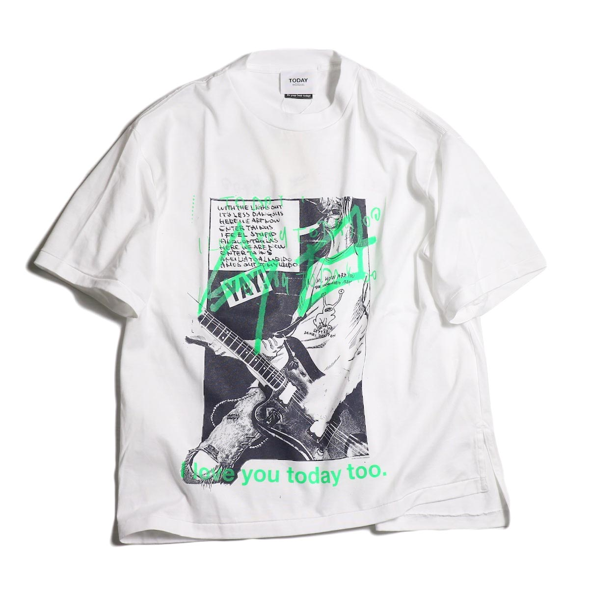 TODAY edition / drawing tee green -White