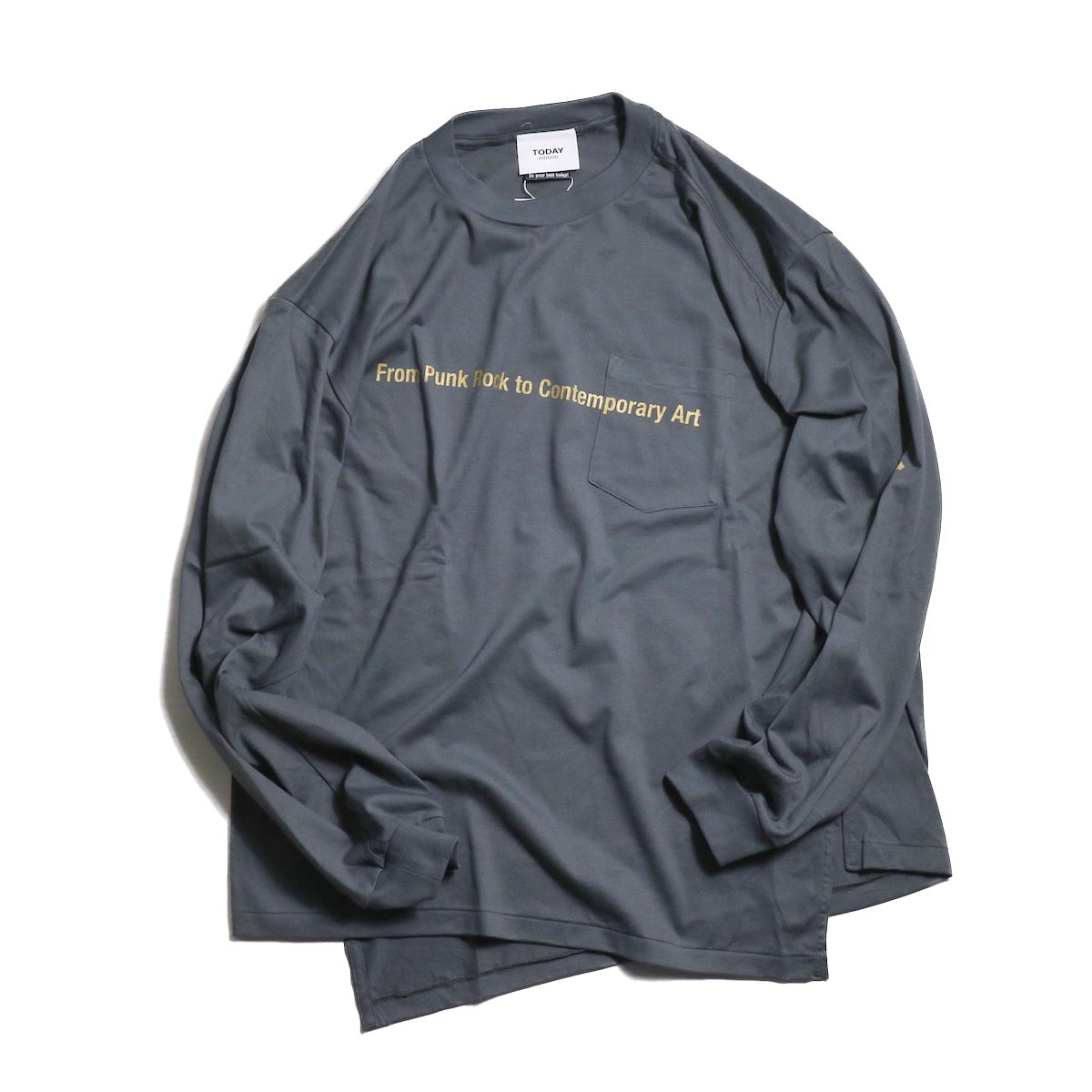 TODAY edition / message pocket  tee -Gray