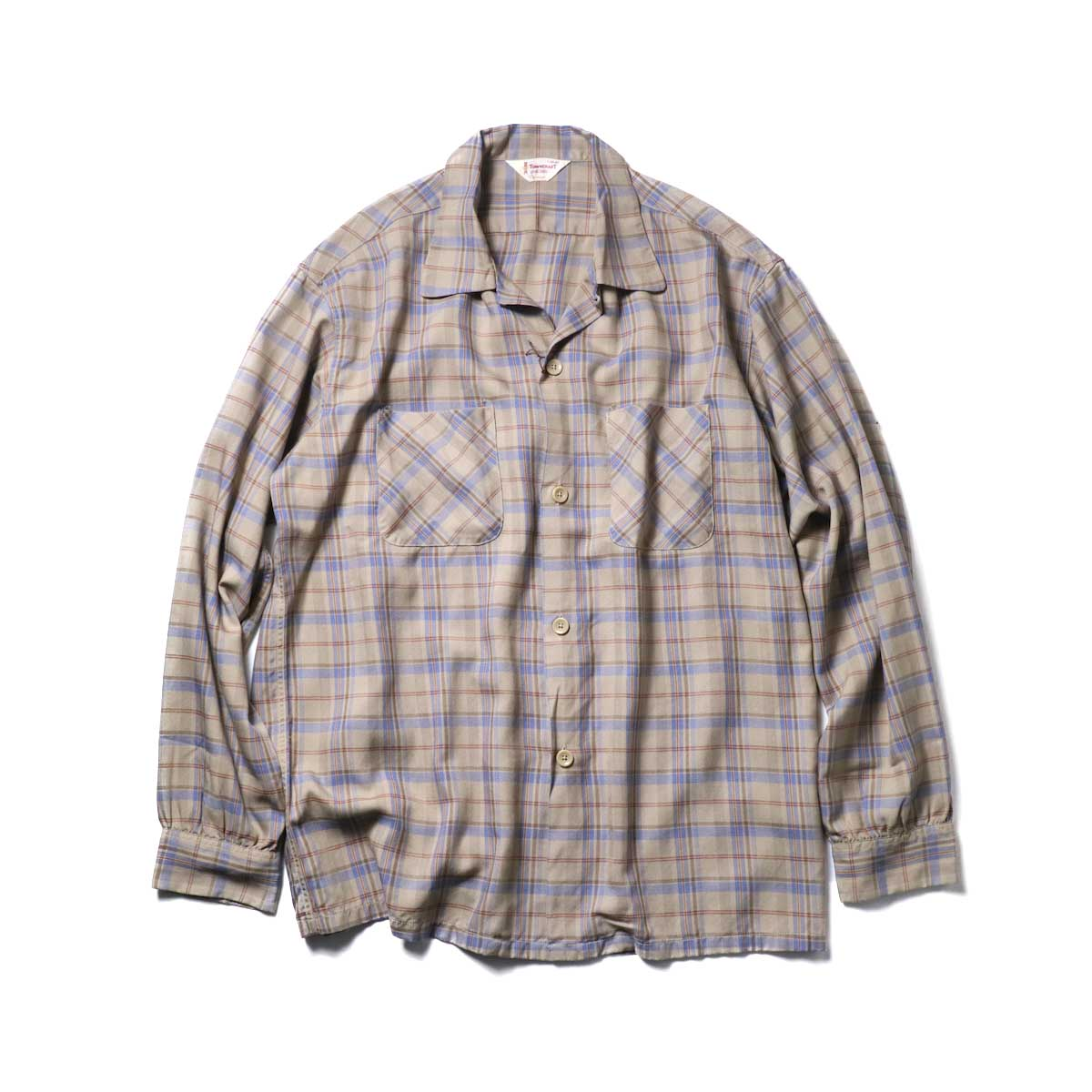 TOWN CRAFT / CLASSIC CHECK OPEN SHIRTS (Beige)正面