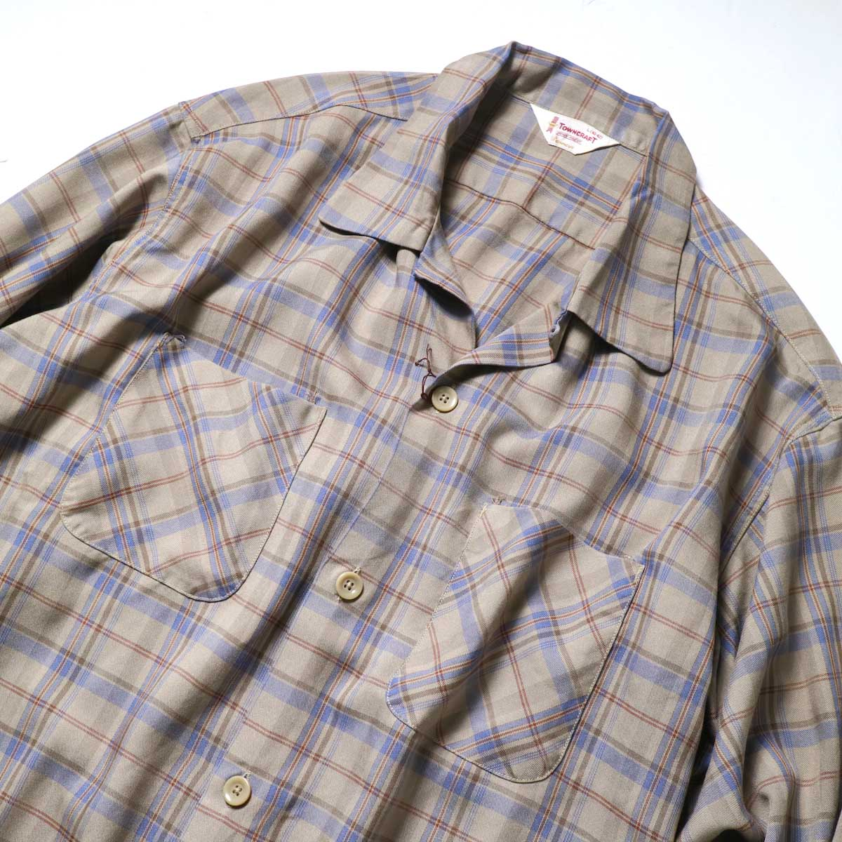 TOWN CRAFT / CLASSIC CHECK OPEN SHIRTS (Beige)オープンカラー