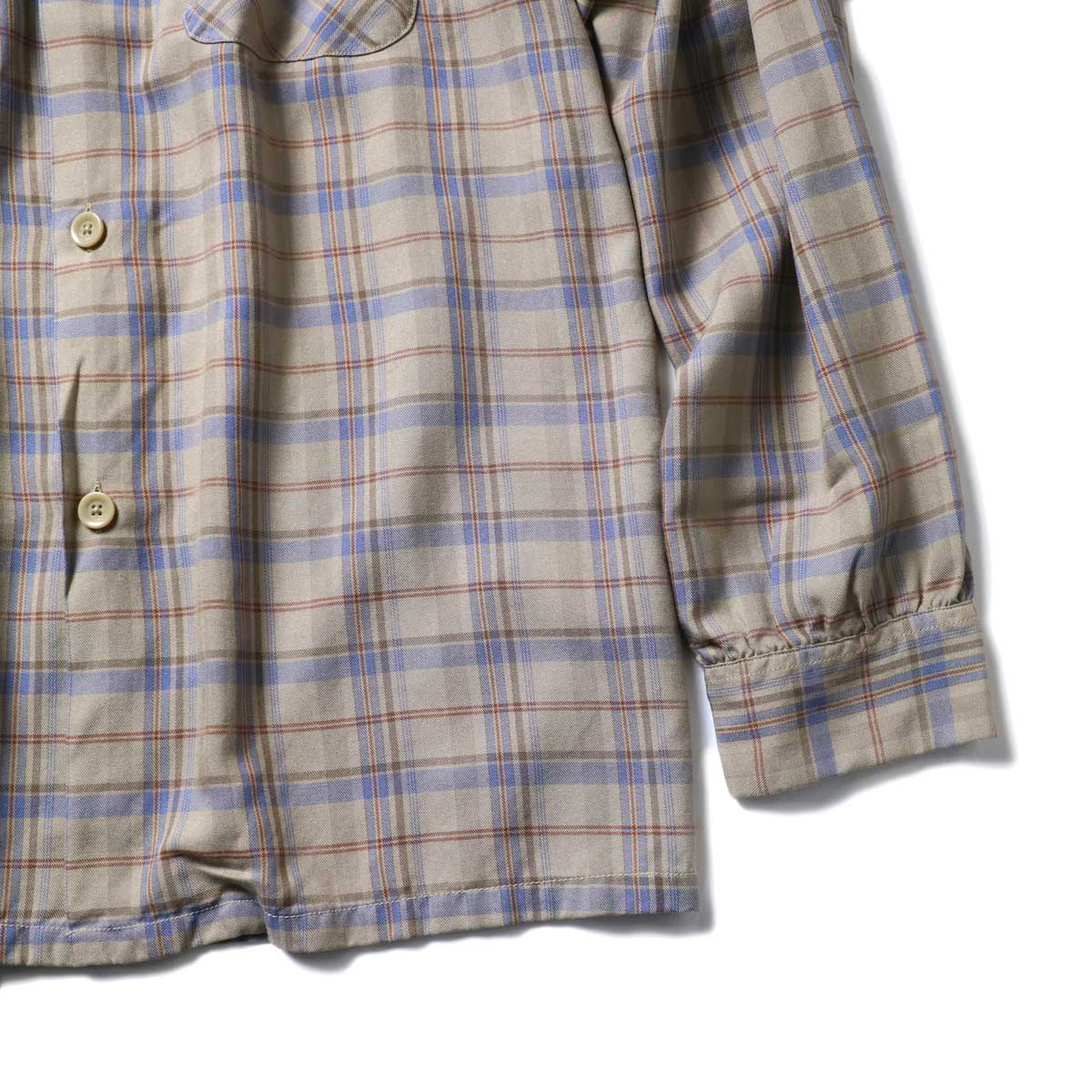 TOWN CRAFT / CLASSIC CHECK OPEN SHIRTS (Beige)袖、裾