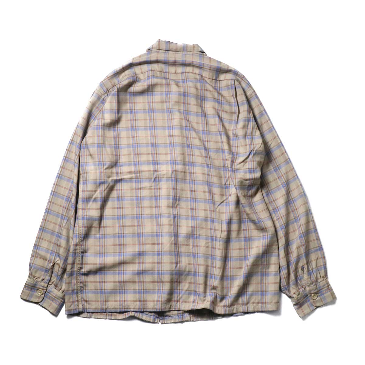 TOWN CRAFT / CLASSIC CHECK OPEN SHIRTS (Beige)背面