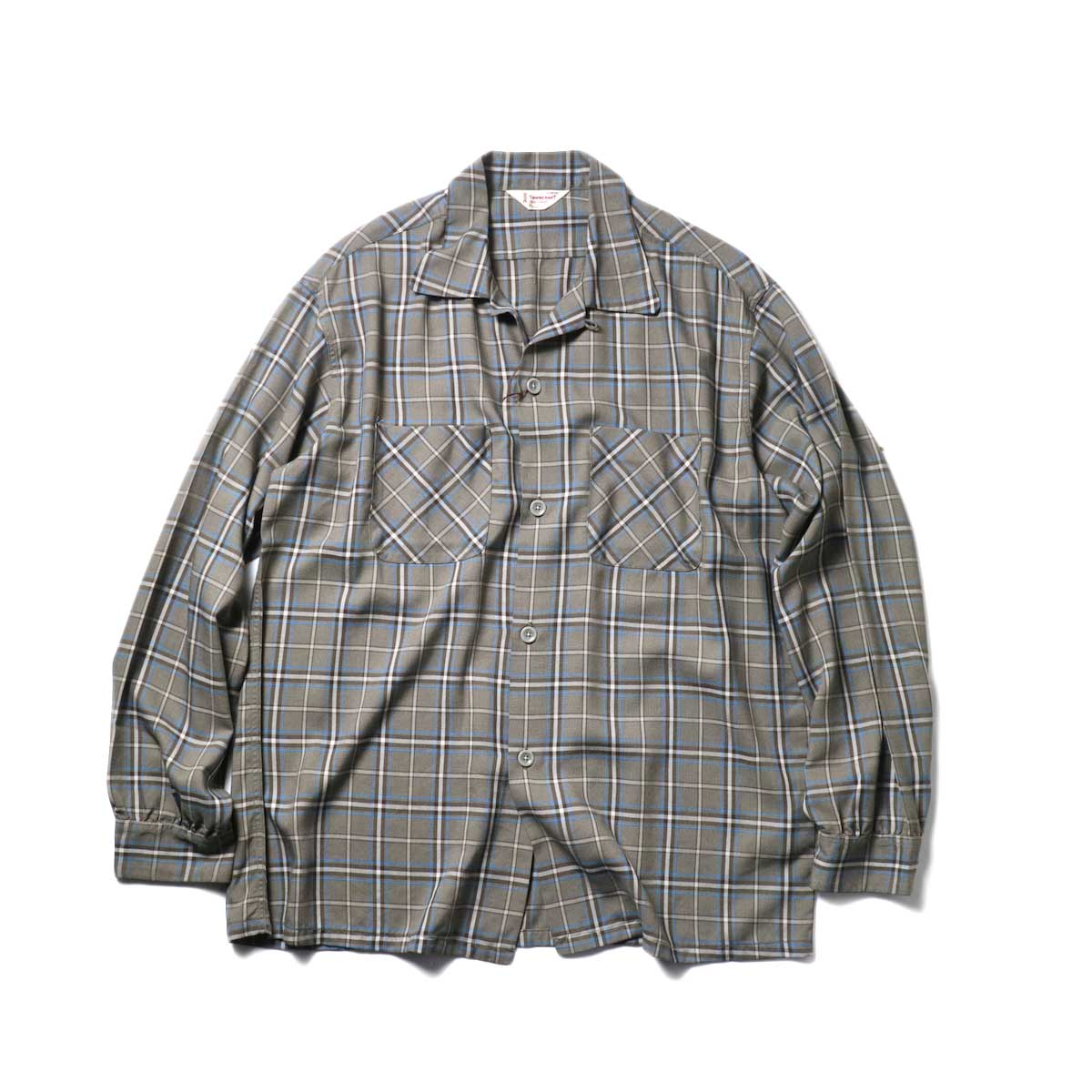 TOWN CRAFT / CLASSIC CHECK OPEN SHIRTS (Gray)正面