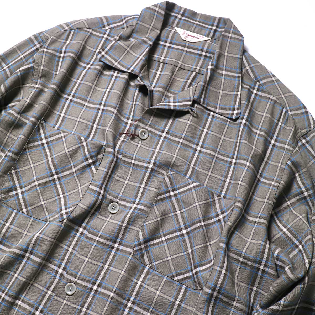 TOWN CRAFT / CLASSIC CHECK OPEN SHIRTS (Gray)オープンカラー