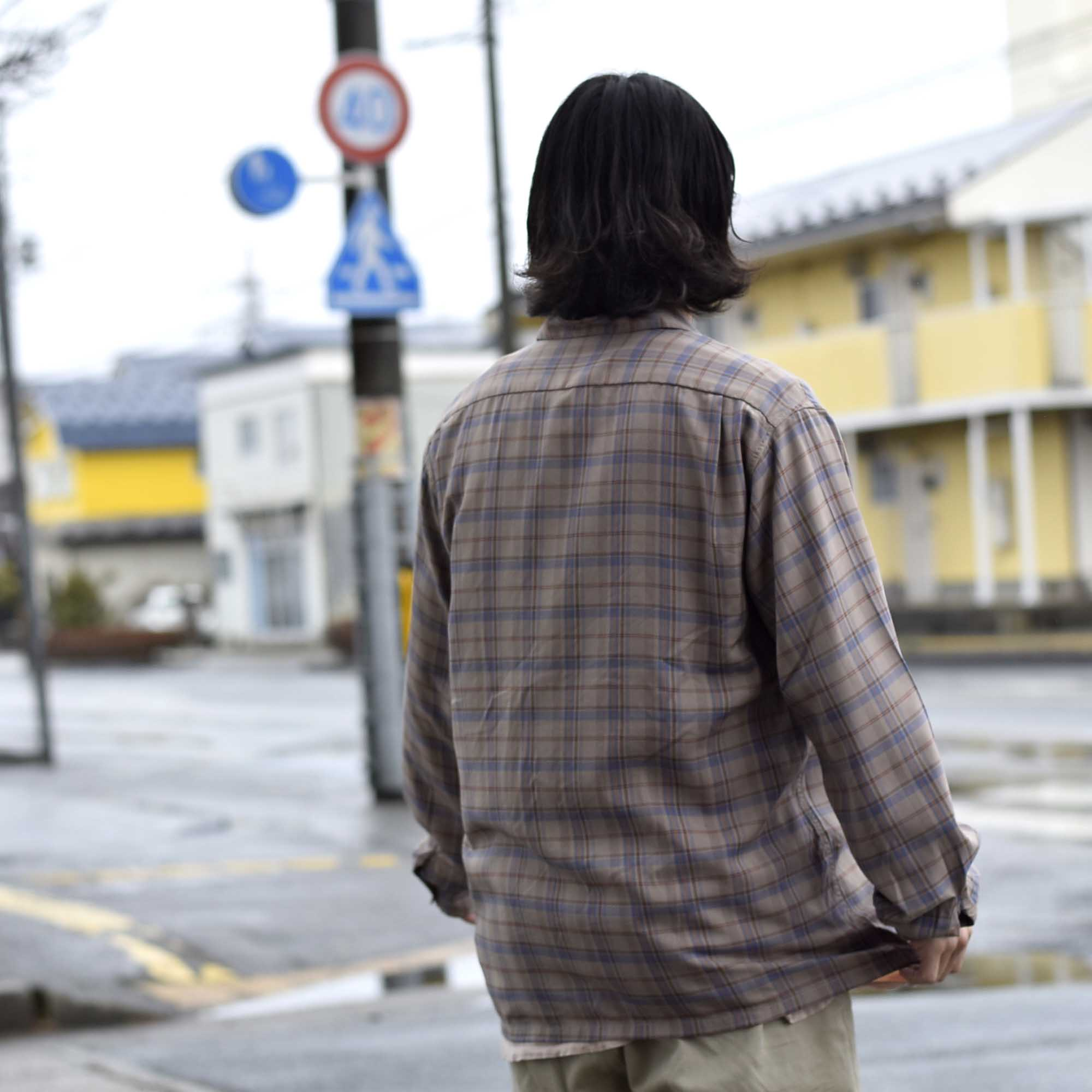 TOWN CRAFT / CLASSIC CHECK OPEN SHIRTS (Gray)着用イメージ② 162cm / sizeM