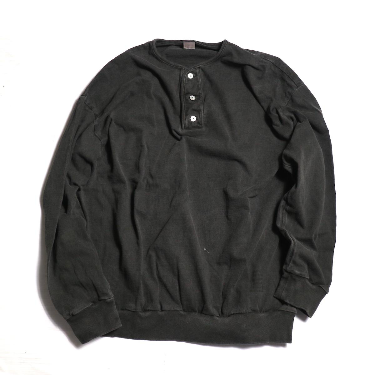TOWN CRAFT / WIDE SILHOUETTE 3B HENLEY NECK L/S T-SHIRT -Black