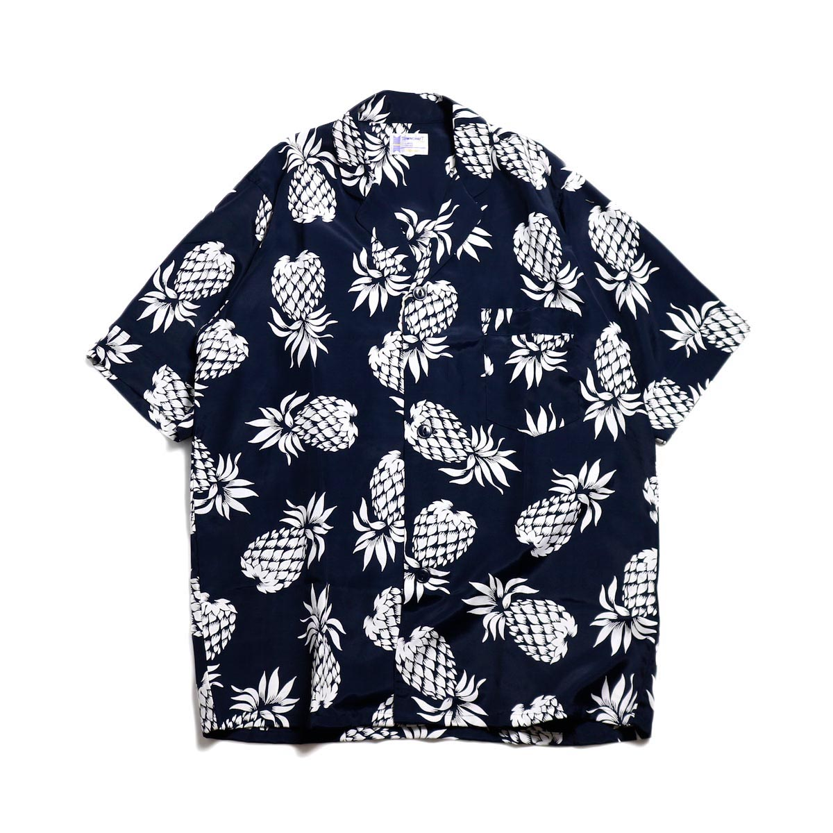 TOWN CRAFT / Rayon Printed Pajama Shirt -Navy