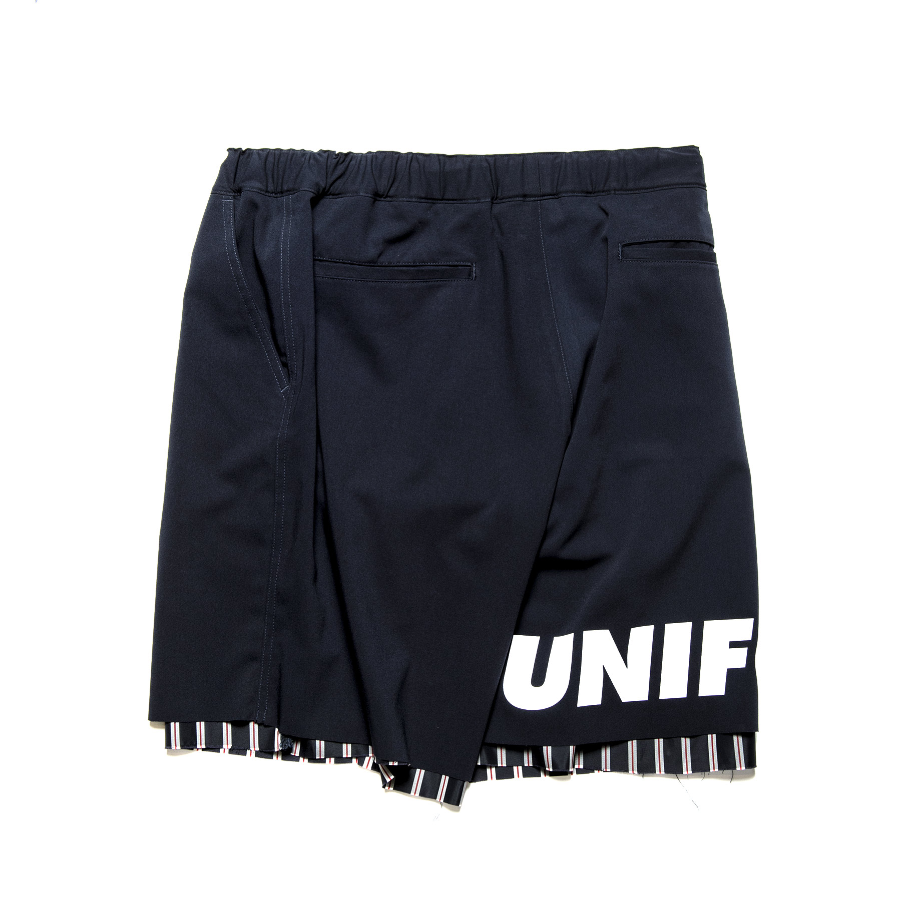 uniform experiment / CUT HEM STRIPE LAYERED SHORTS -navy