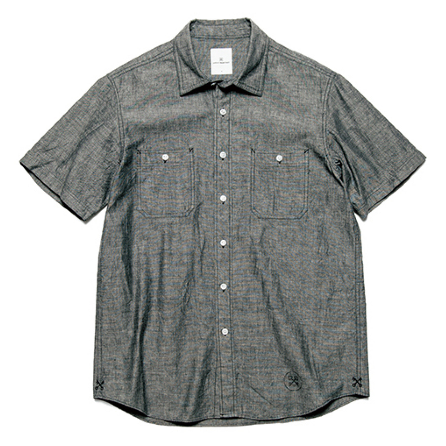 uniform experiment / S/S UEN PHYSICAL FITNESS CHAMBRAY WORK SHIRT -black