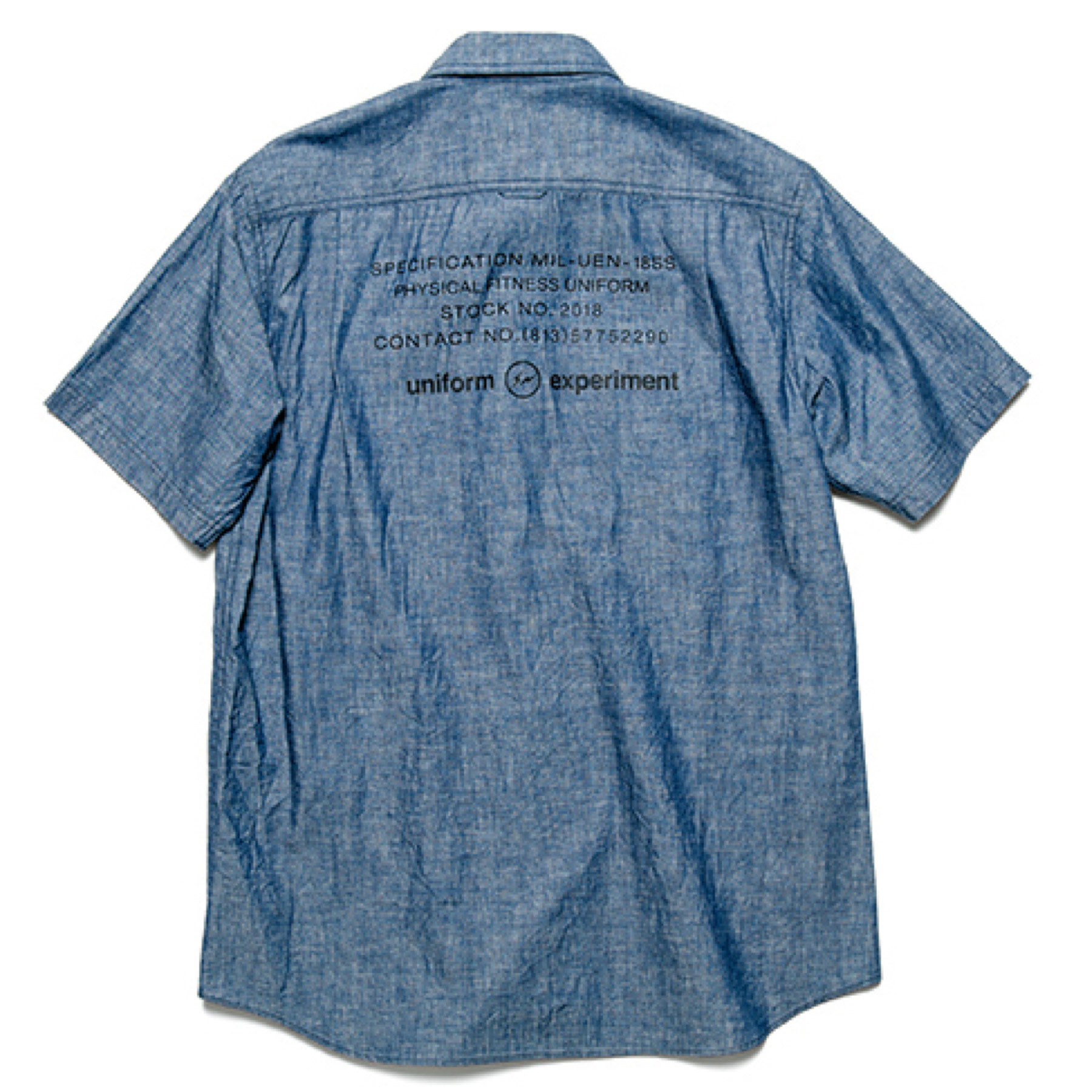 uniform experiment / S/S UEN PHYSICAL FITNESS CHAMBRAY WORK SHIRT -indigo