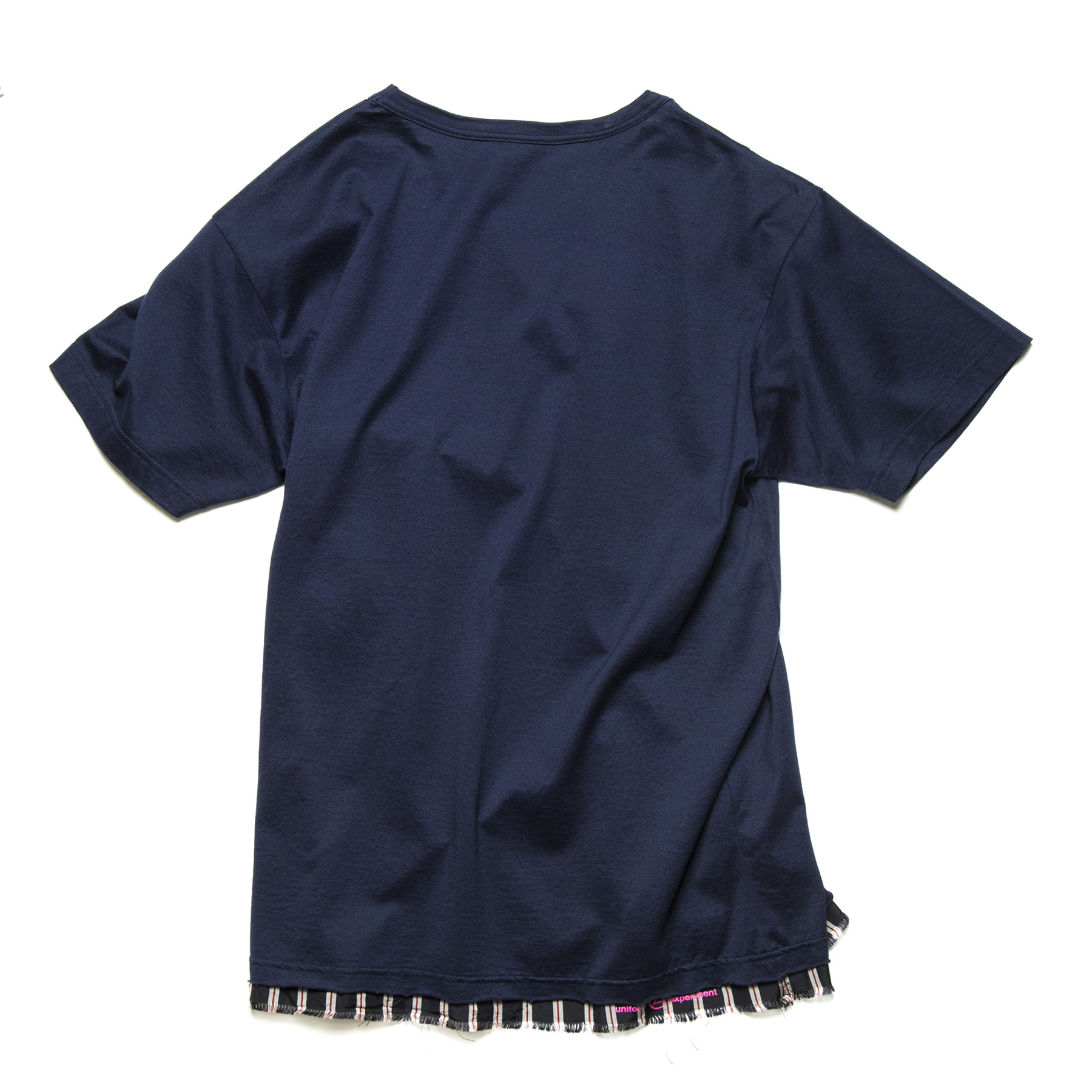uniform experiment / CUT HEM STRIPE LAYERED TEE -navy