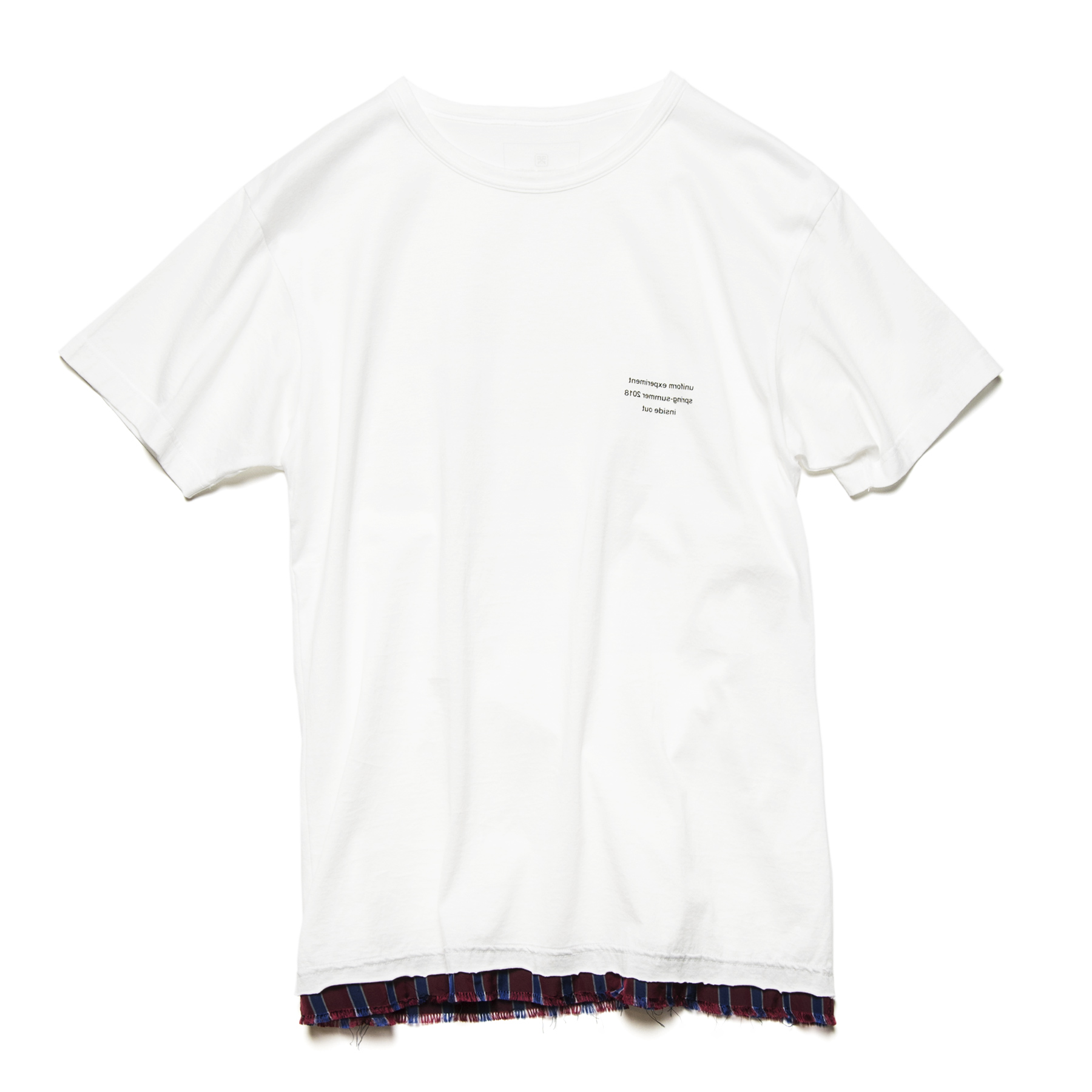 uniform experiment / CUT HEM STRIPE LAYERED TEE -white