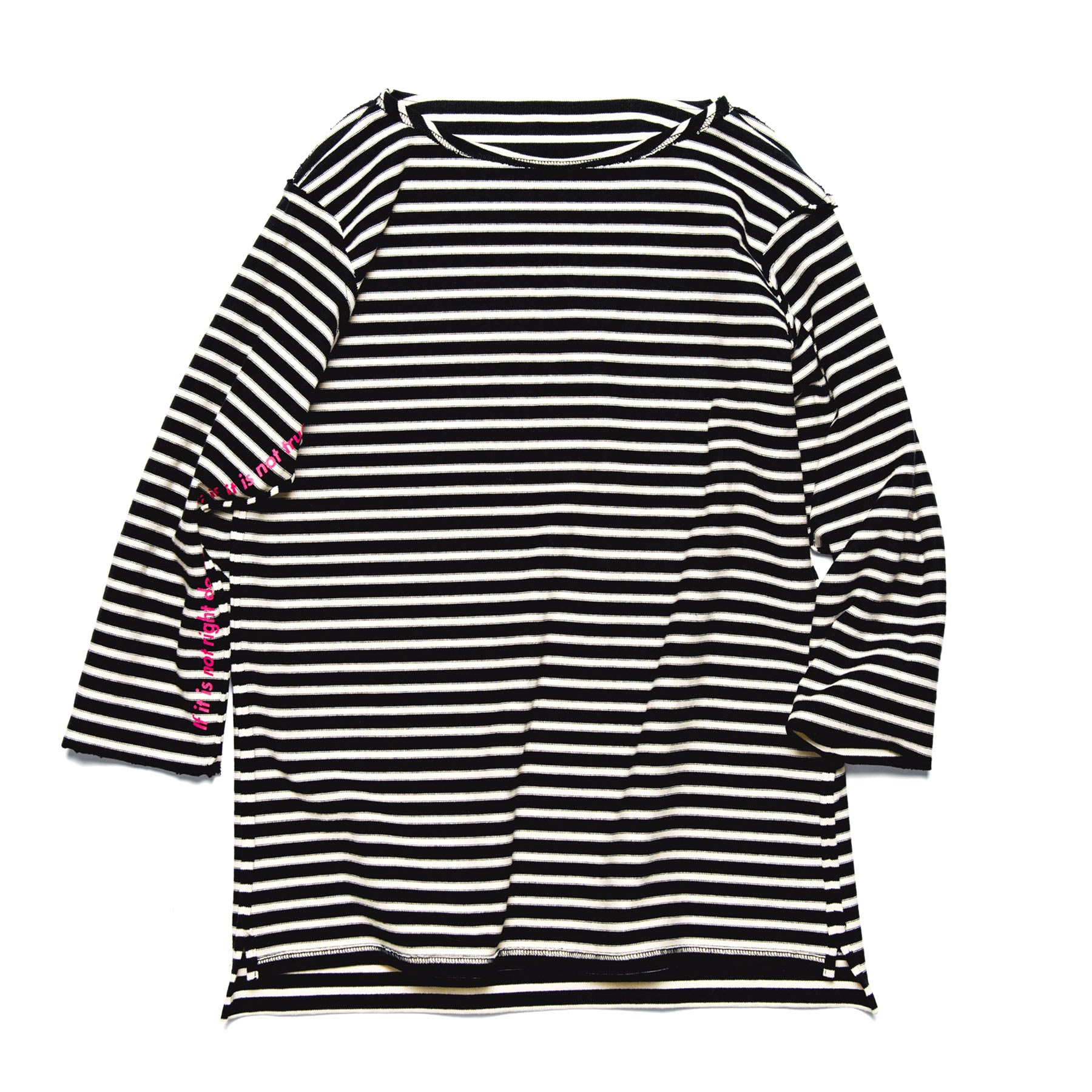 uniform experiment / CUT OFF 3/4 SLEEVE BORDER BOAT NECK TEE -narrow border