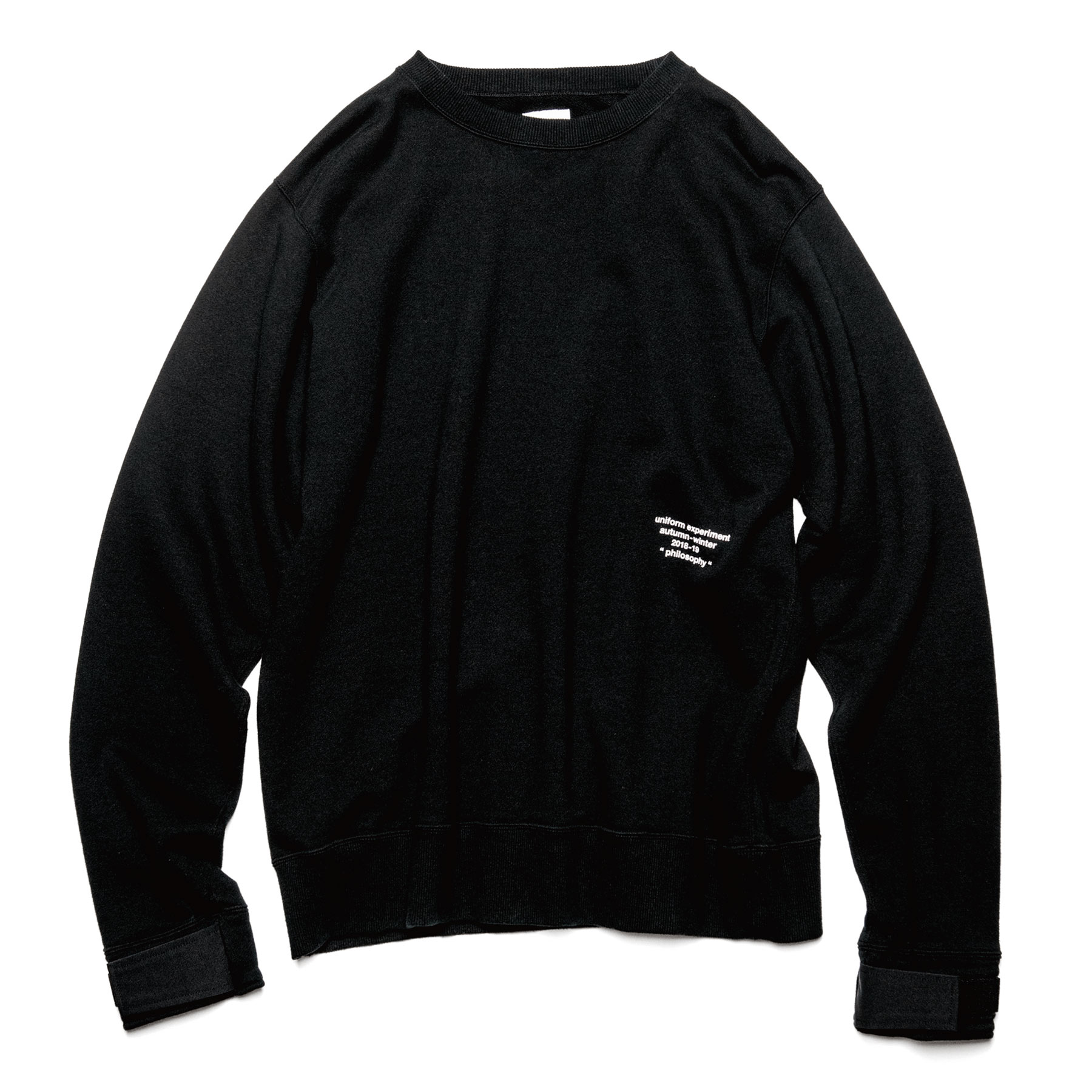 uniform experiment / VELCRO CREW NECK SWEAT -BLACK