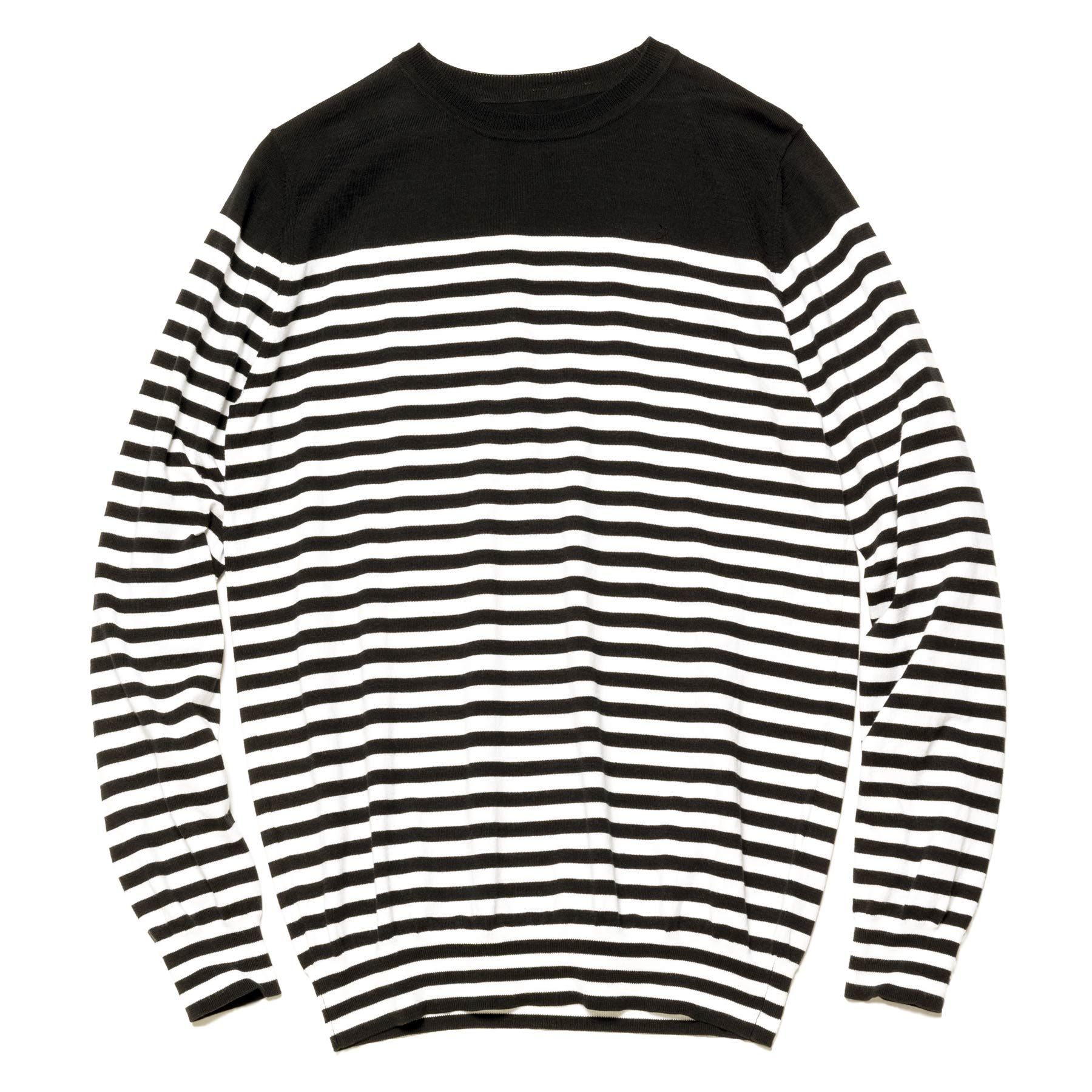 uniform experiment / BORDER CREW NECK KNIT -Black/White
