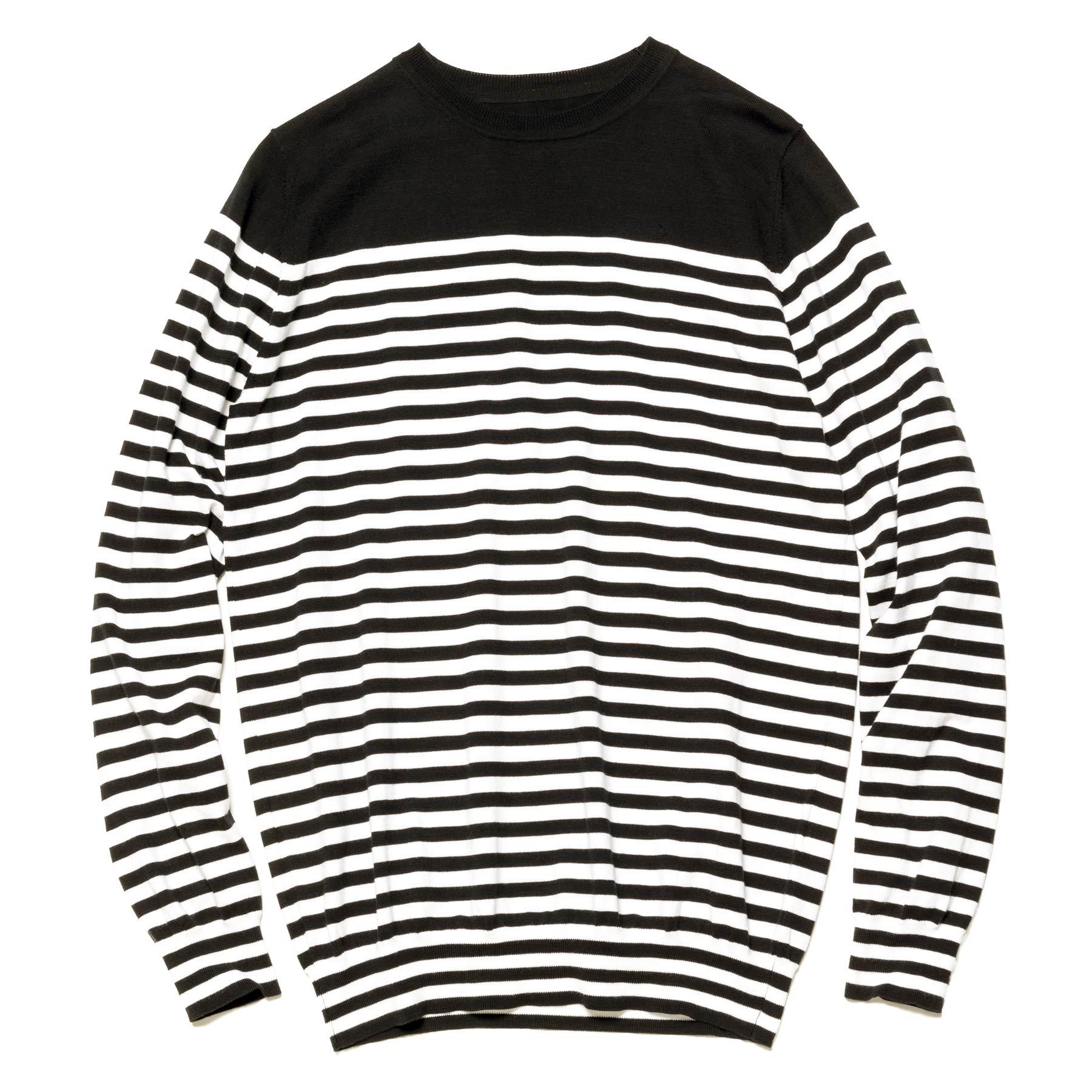 uniform experiment / BORDER CREW NECK KNIT -Black/White