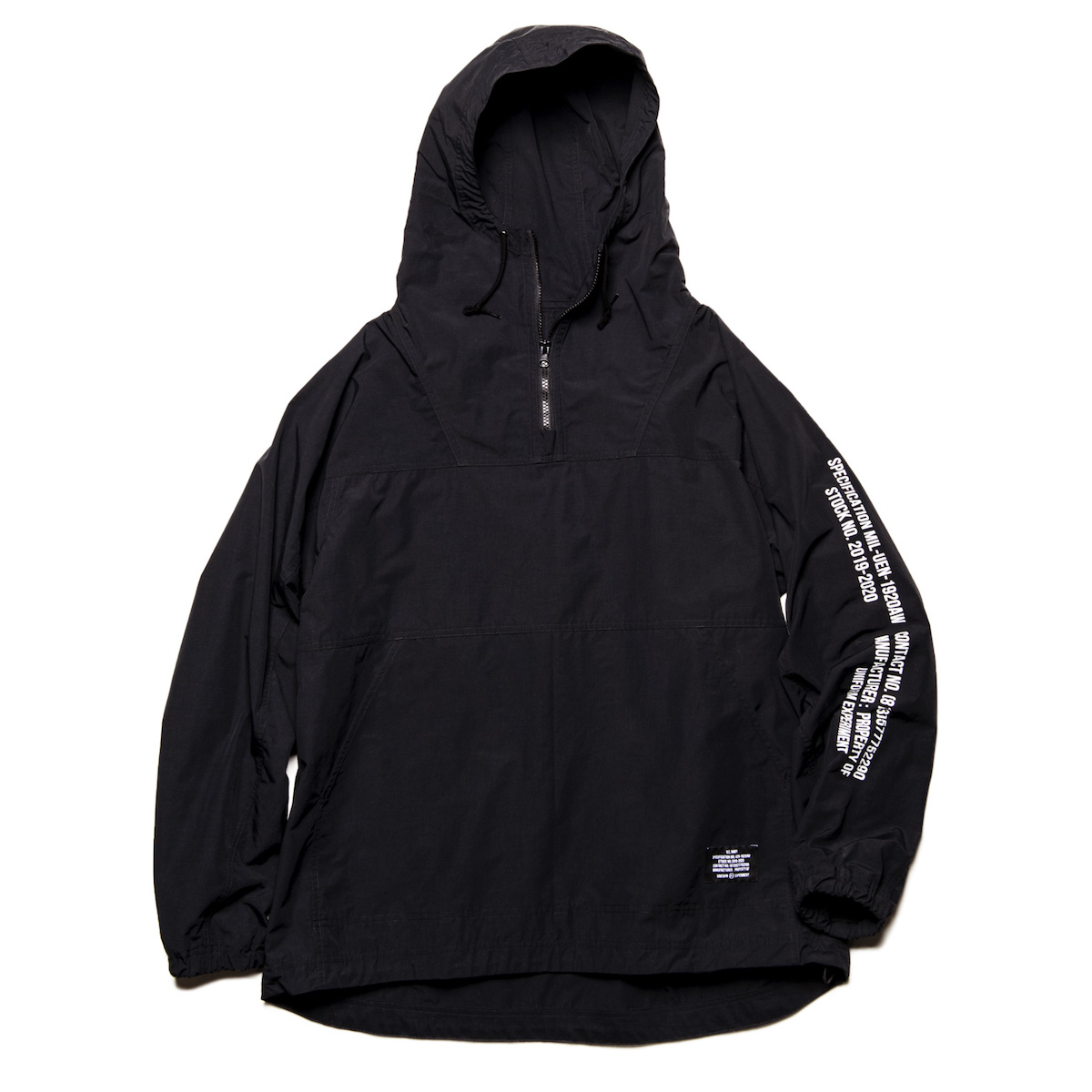 uniform experiment / HALF ZIP ANORAK -Black